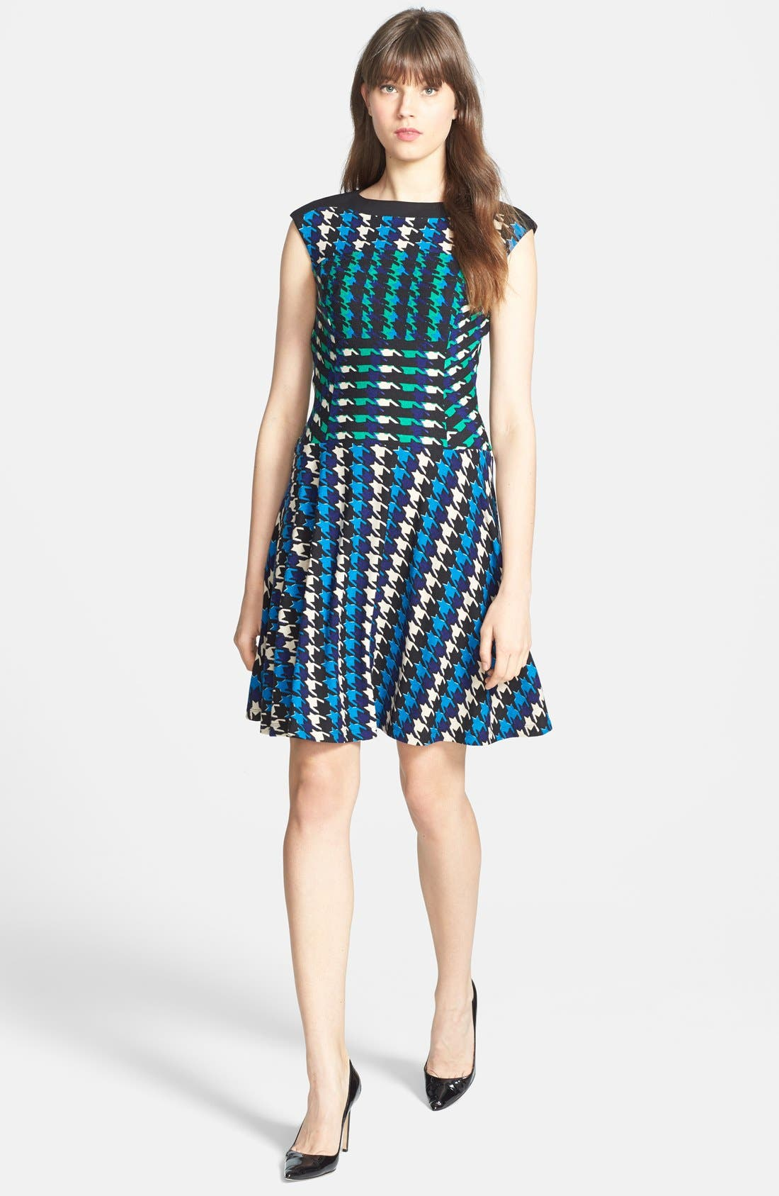 Alternate Image 3  - Gabby Skye Houndstooth Print Ponte Knit Fit & Flare Dress