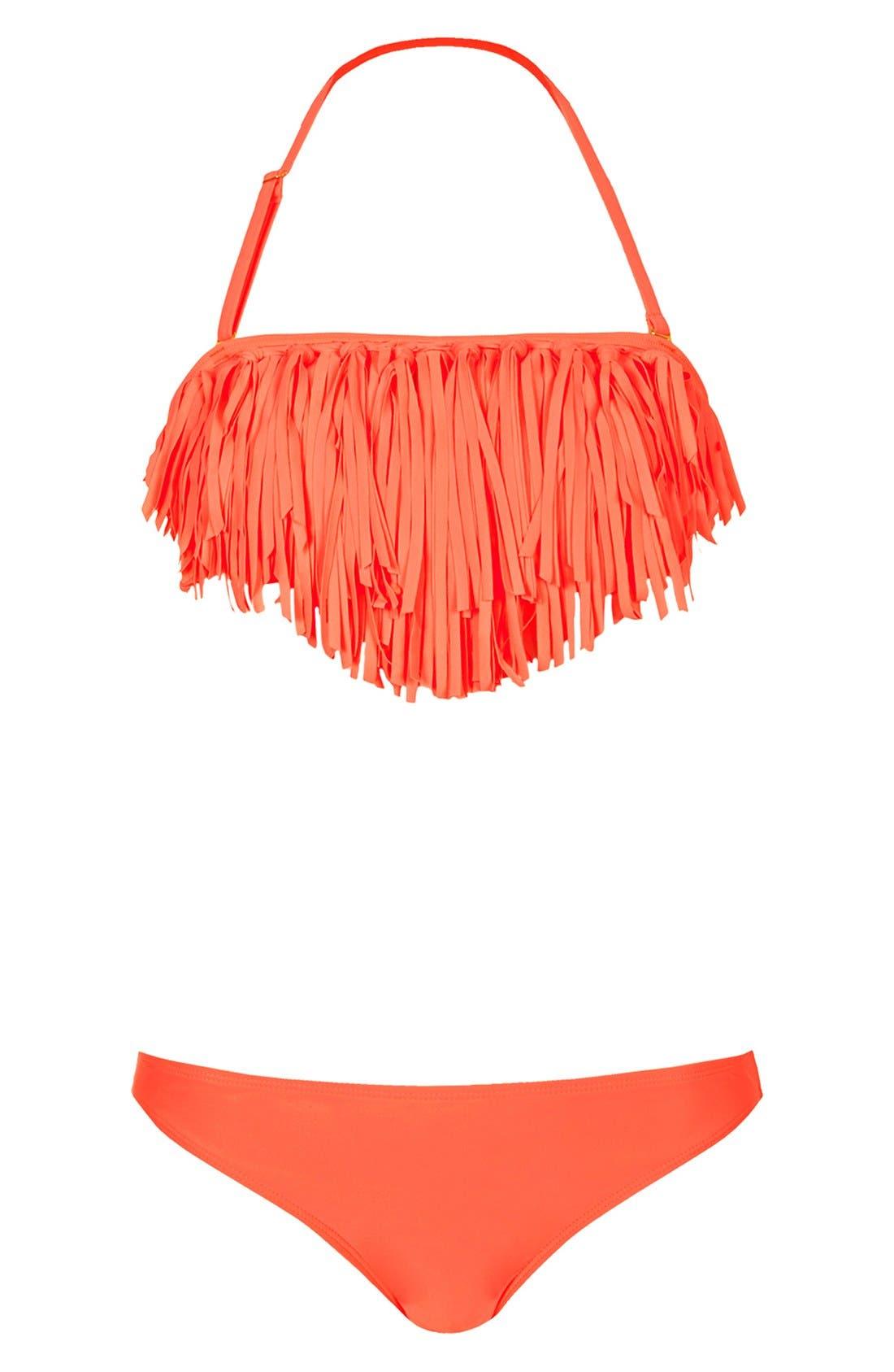 Alternate Image 1 Selected - Topshop Crochet Fringe Bikini