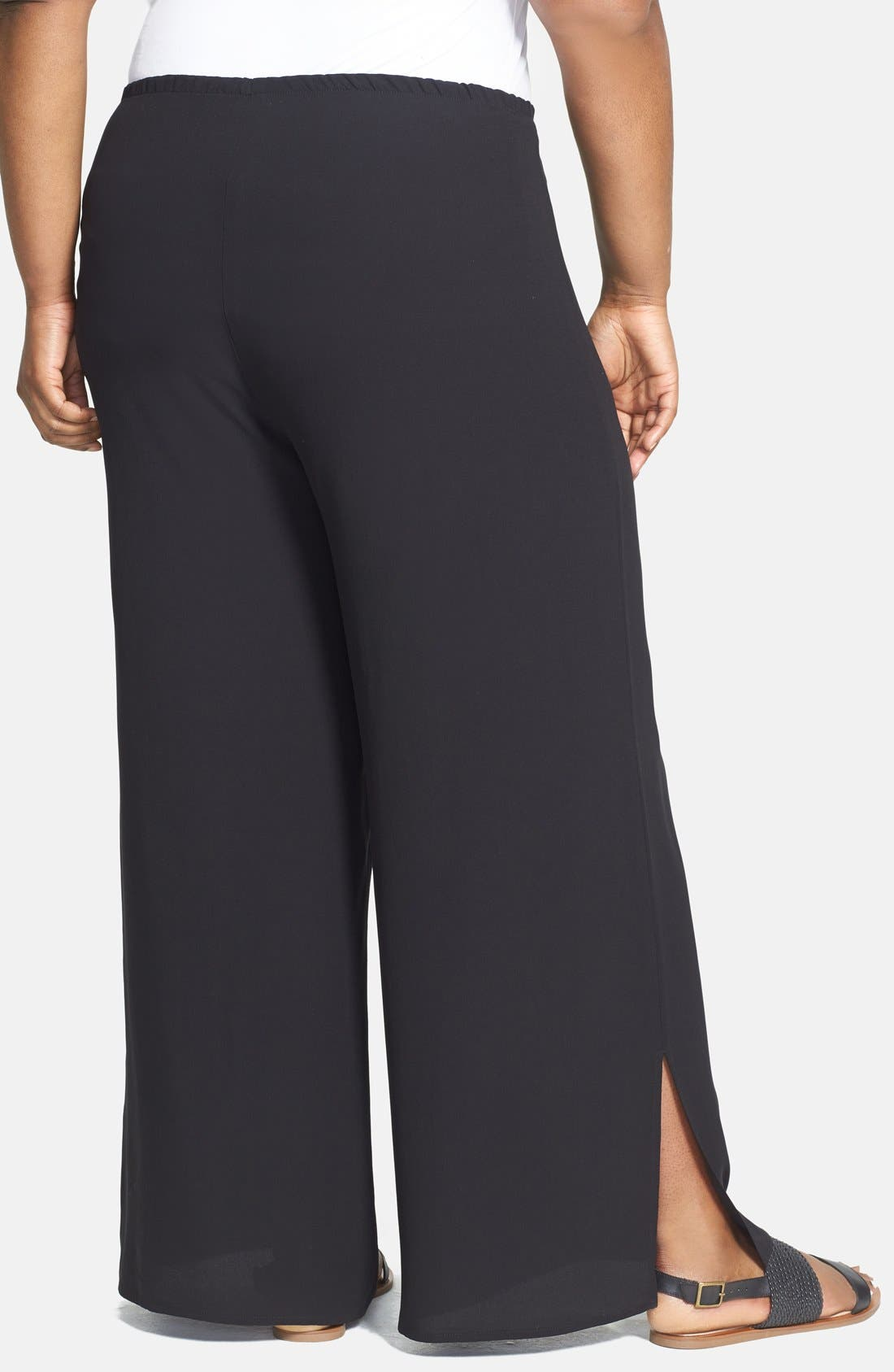 Alternate Image 2  - Eileen Fisher Slit Hem Silk Georgette Crepe Wide Leg Pants (Plus Size)