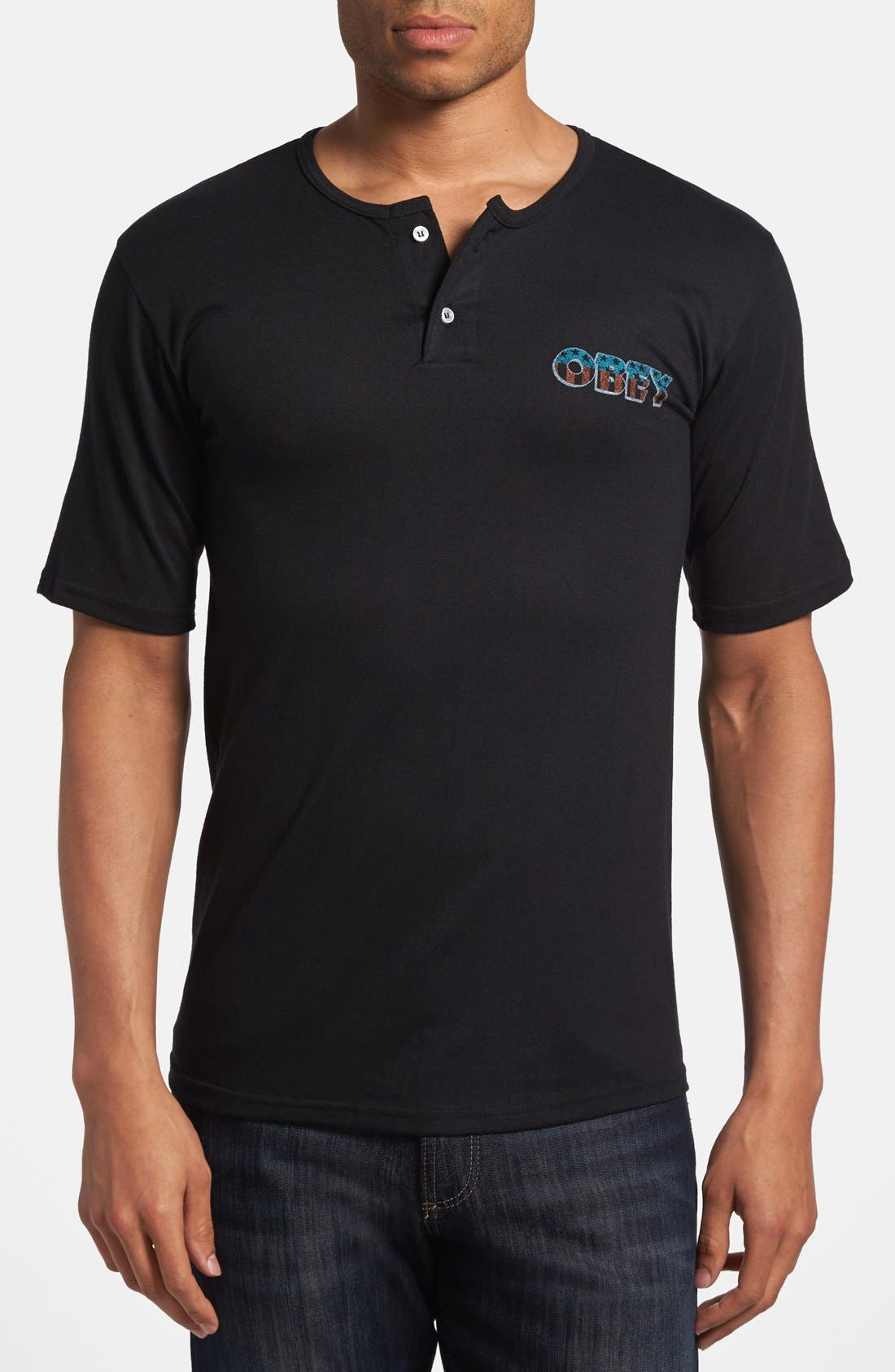 Main Image - Obey 'Spirit of the Street' Short Sleeve Henley T-Shirt
