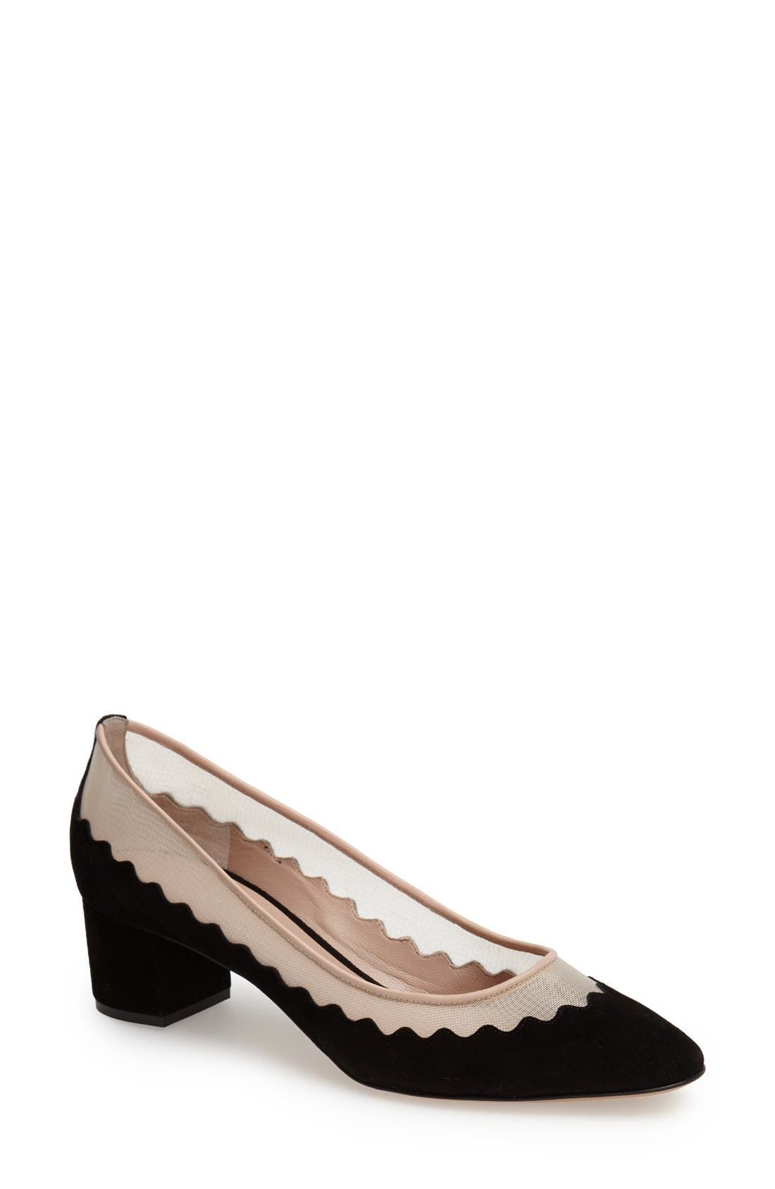 Alternate Image 1 Selected - Chloé 'Bridget' Scalloped Almond Toe Pump (Women)