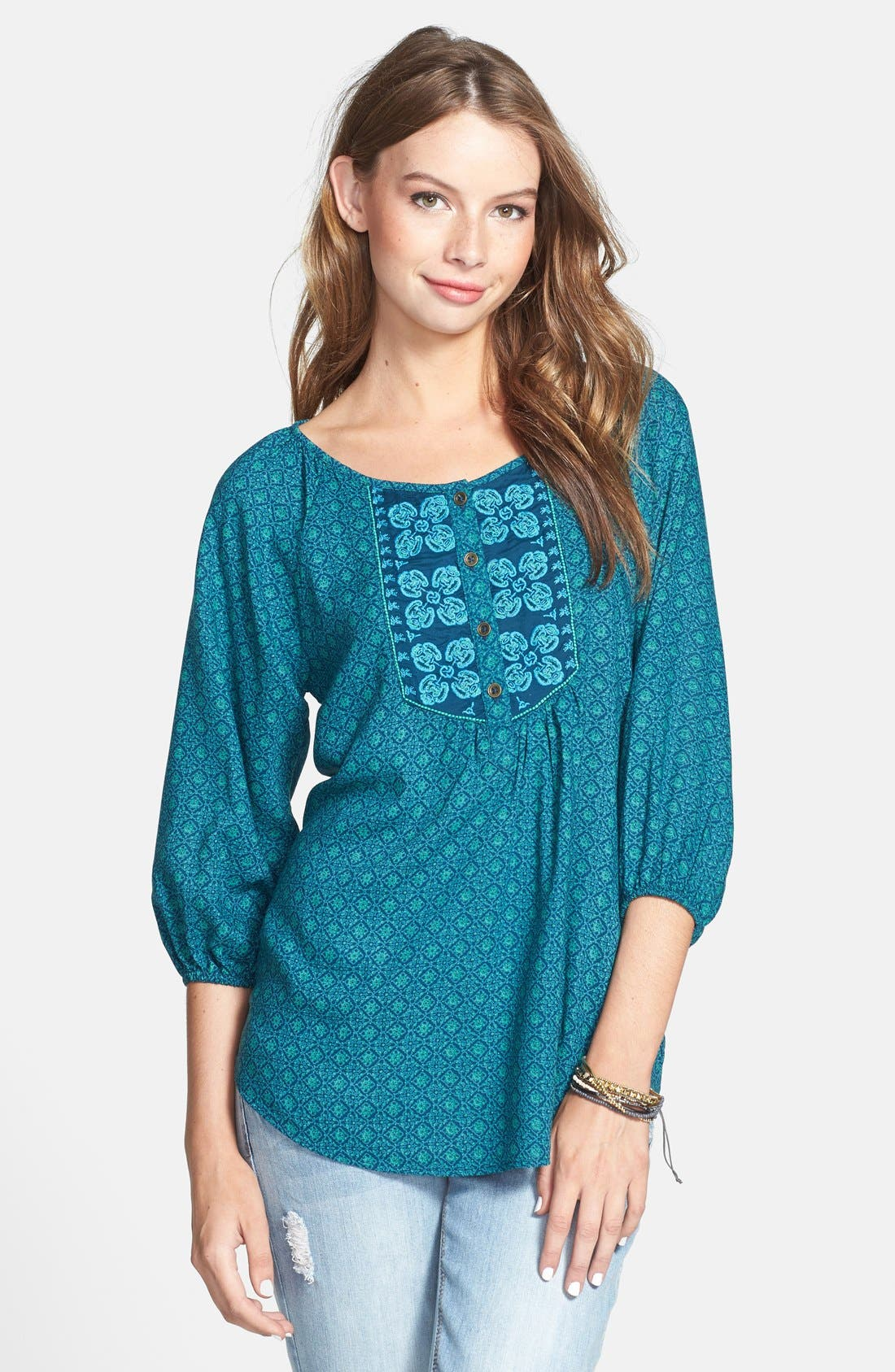 Main Image - Angie Embroidered Peasant Top (Juniors)