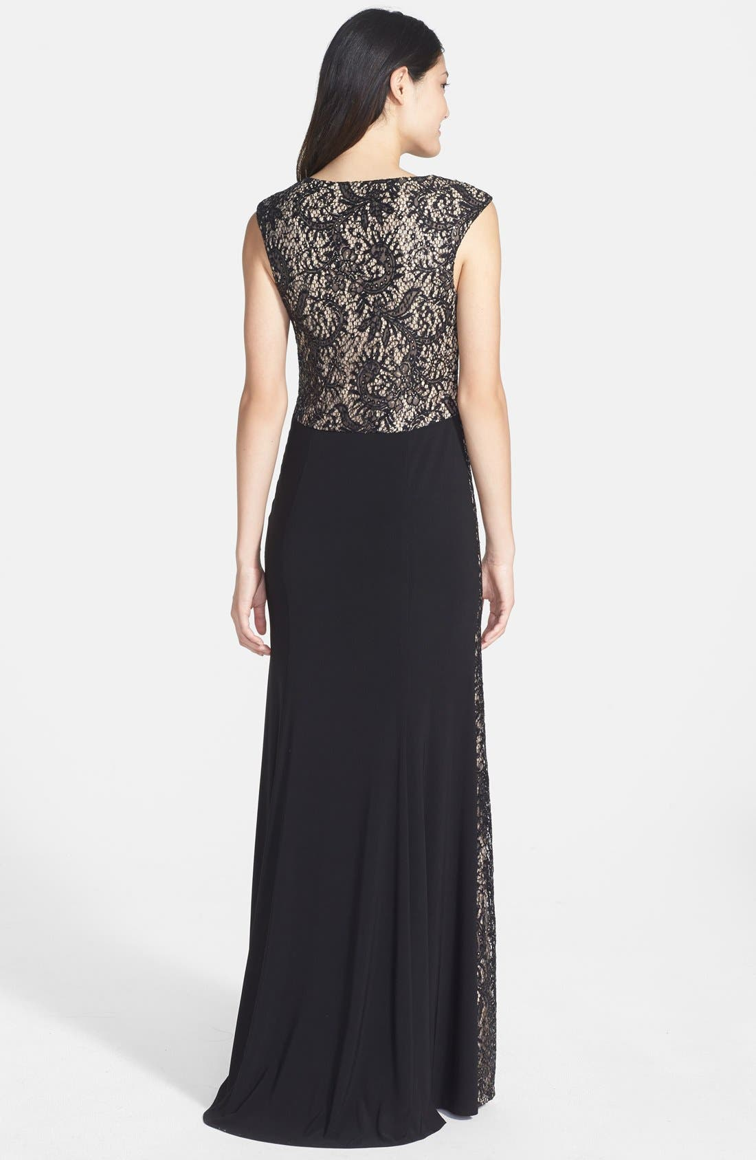 Alternate Image 2  - Xscape Sequin Lace Panel Jersey A-Line Gown