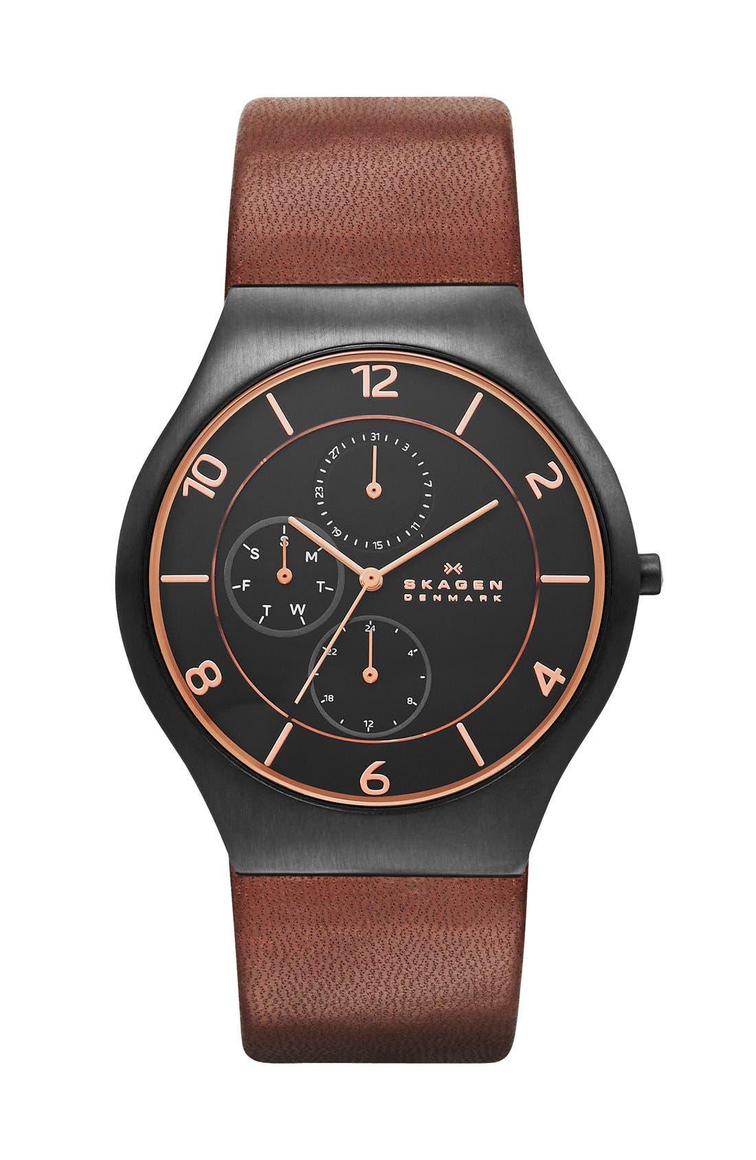 Main Image - Skagen 'Grenen' Round Multifunction Leather Strap Watch, 41 mm