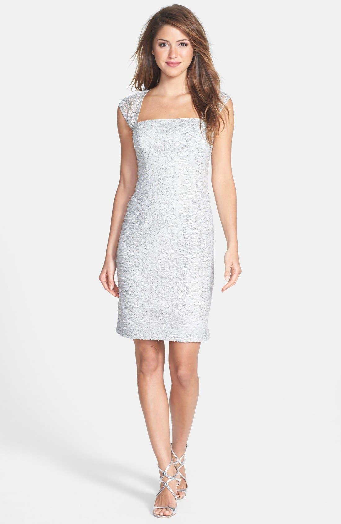 Alternate Image 3  - Adrianna Papell Sequin Lace Sheath Dress (Regular & Petite)