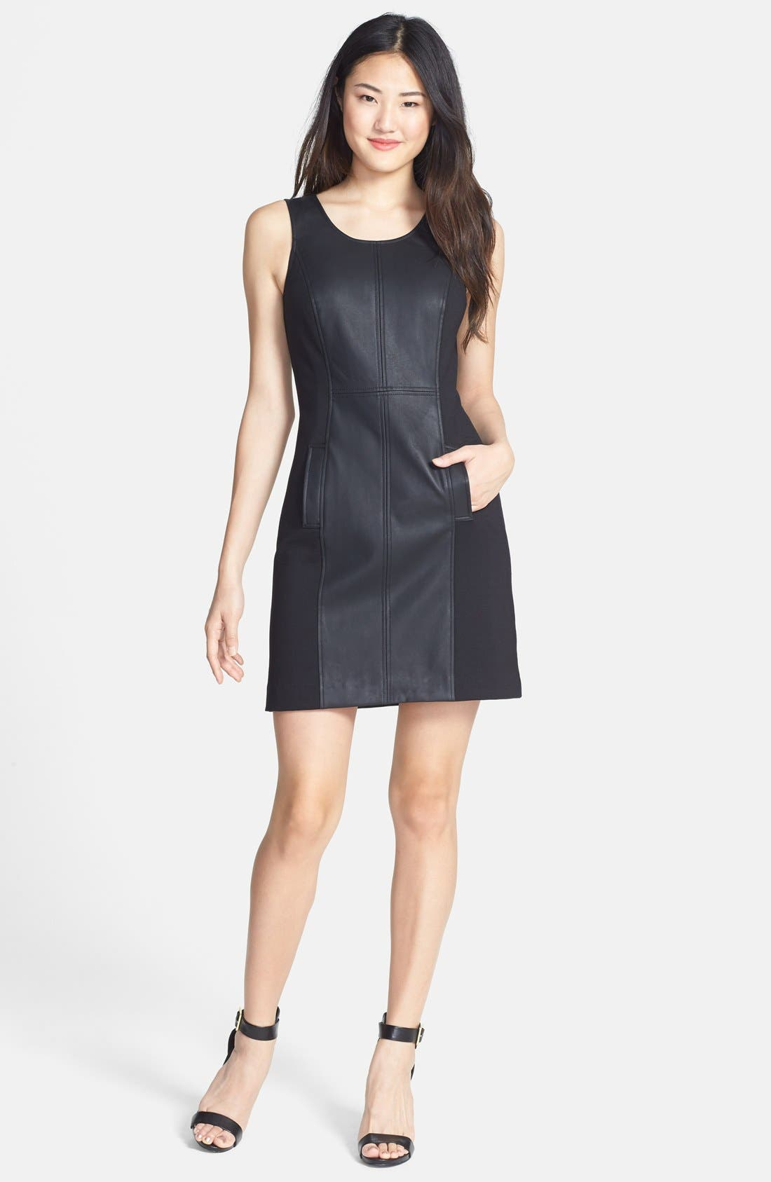 Main Image - kensie Faux Leather Mixed Media Dress (Online Only)