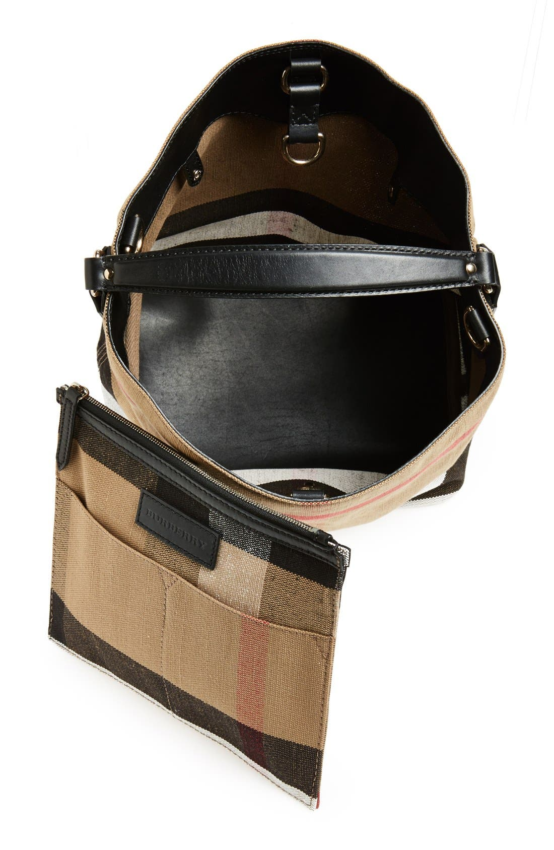 Medium Susanna Check Print Bucket Bag,                             Alternate thumbnail 3, color,                             Black