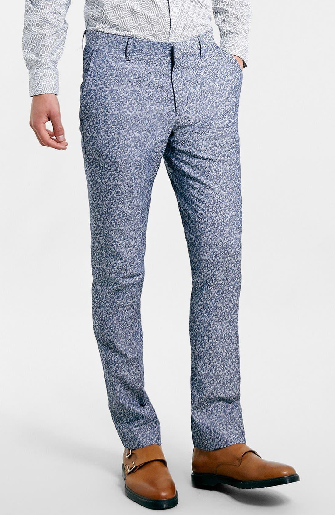 Alternate Image 1 Selected - Topman Skinny Fit Print Suit Trousers