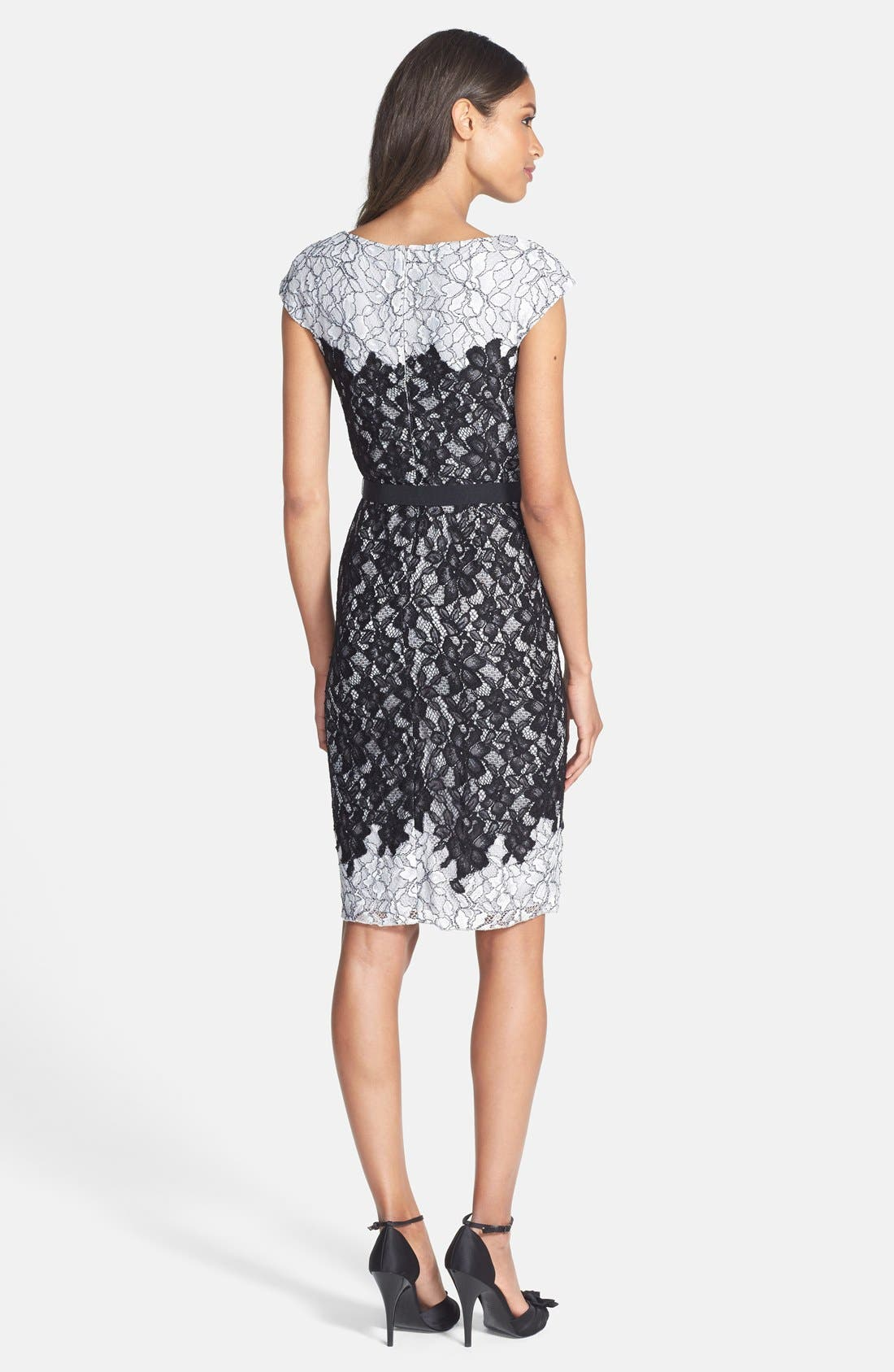 Alternate Image 2  - Tadashi Shoji Two-Tone Lace Sheath Dress
