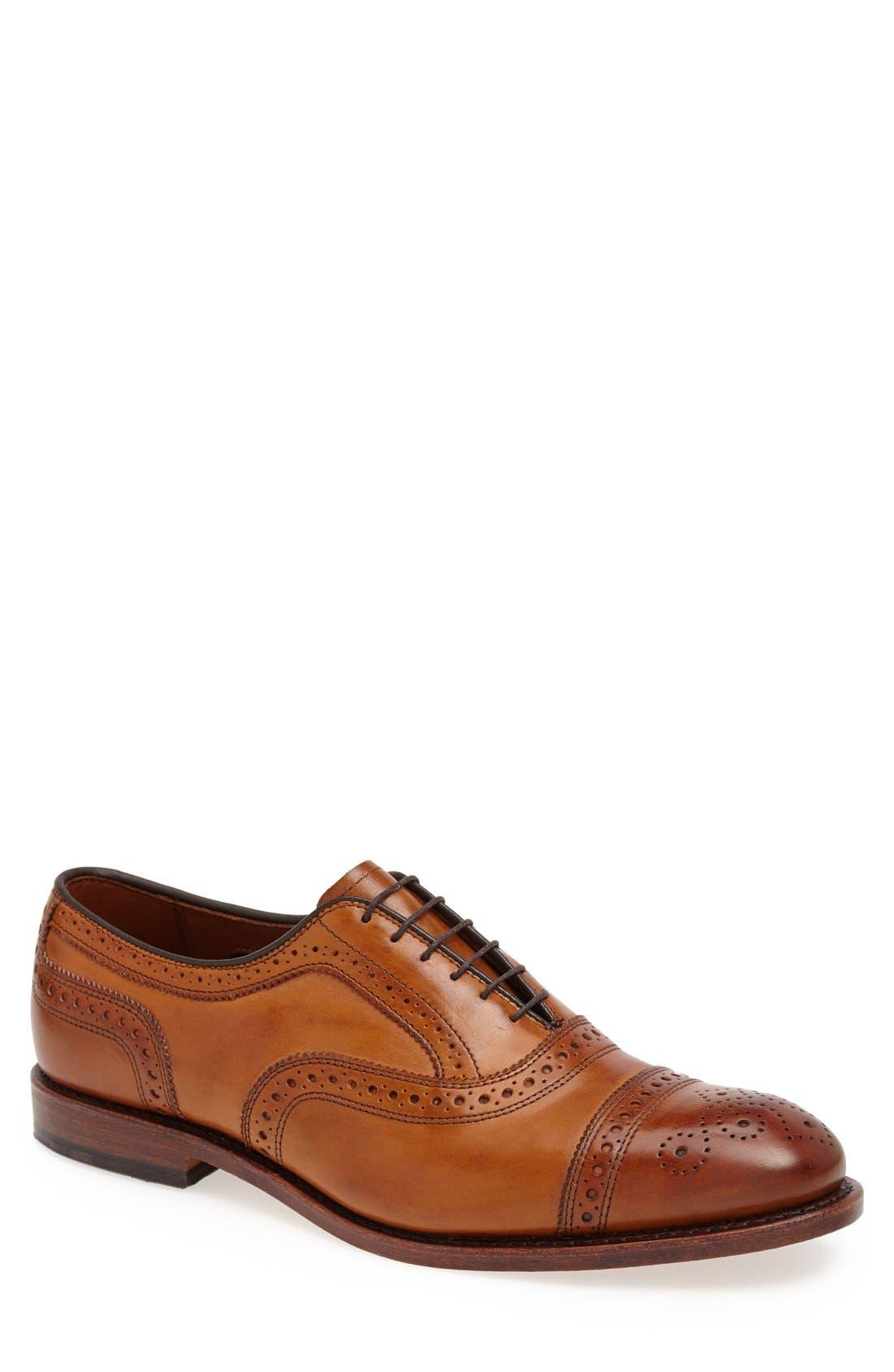 'Strand' Cap Toe Oxford,                             Main thumbnail 1, color,                             Walnut Leather