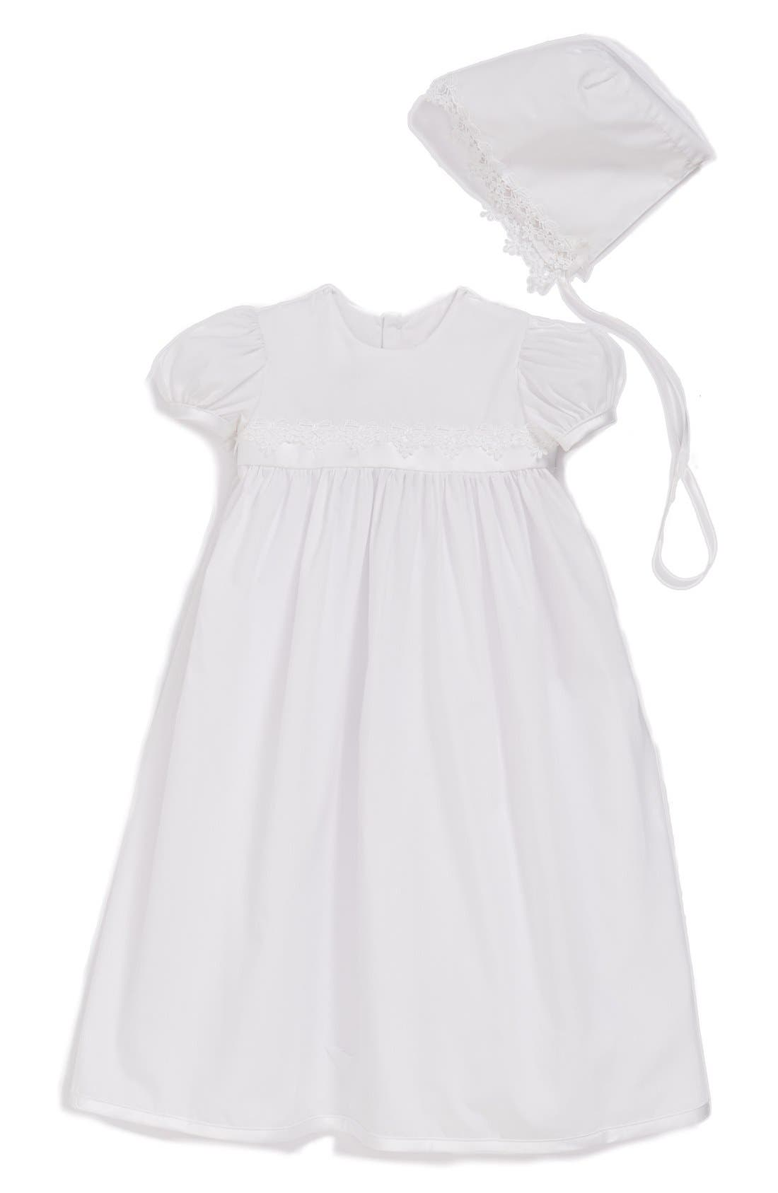 Main Image - Little Things Mean a Lot Christening Gown and Bonnet Set (Baby Girls)