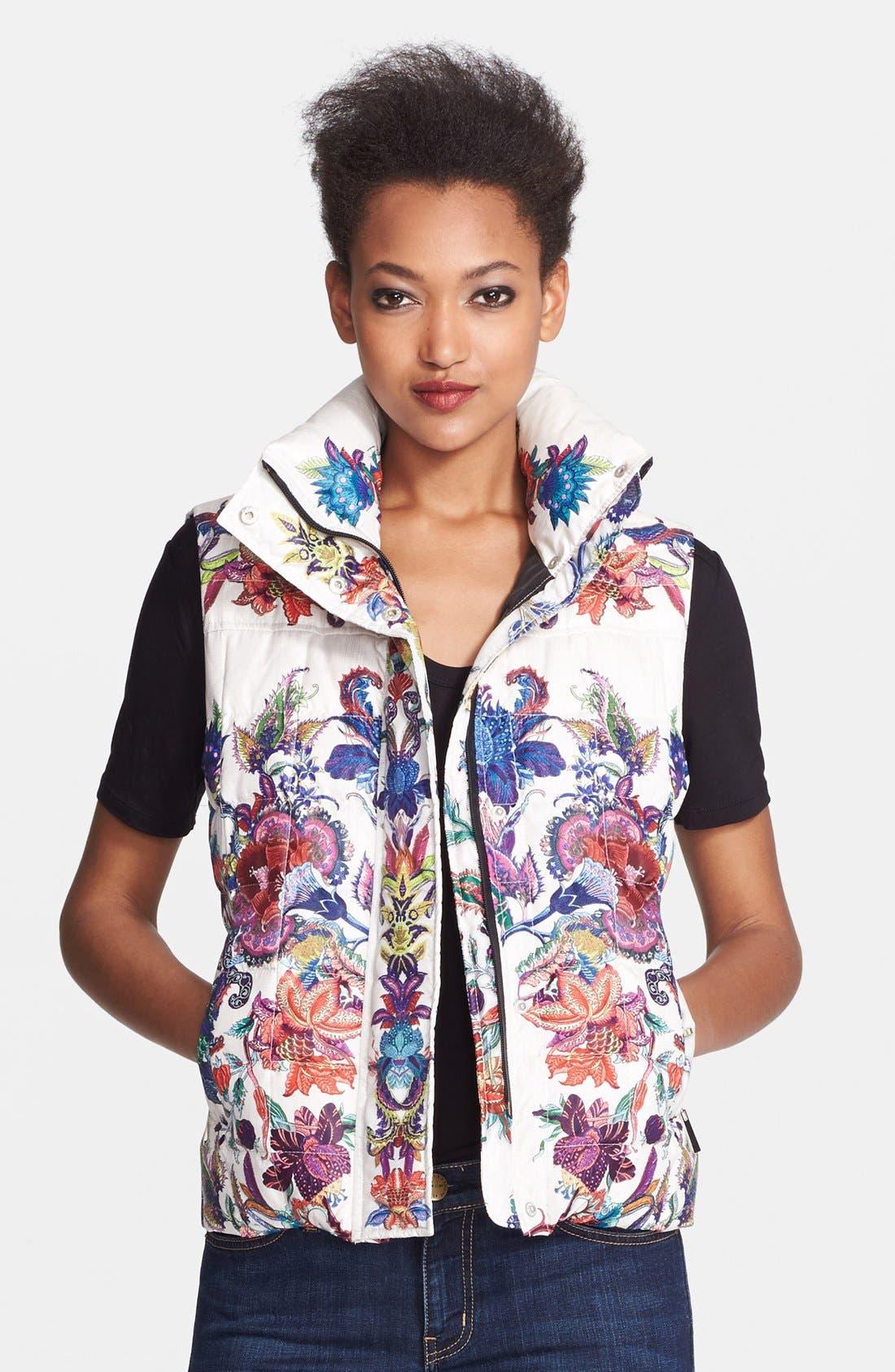 Floral Print Down Puffer Vest,                             Main thumbnail 1, color,                             White Variant