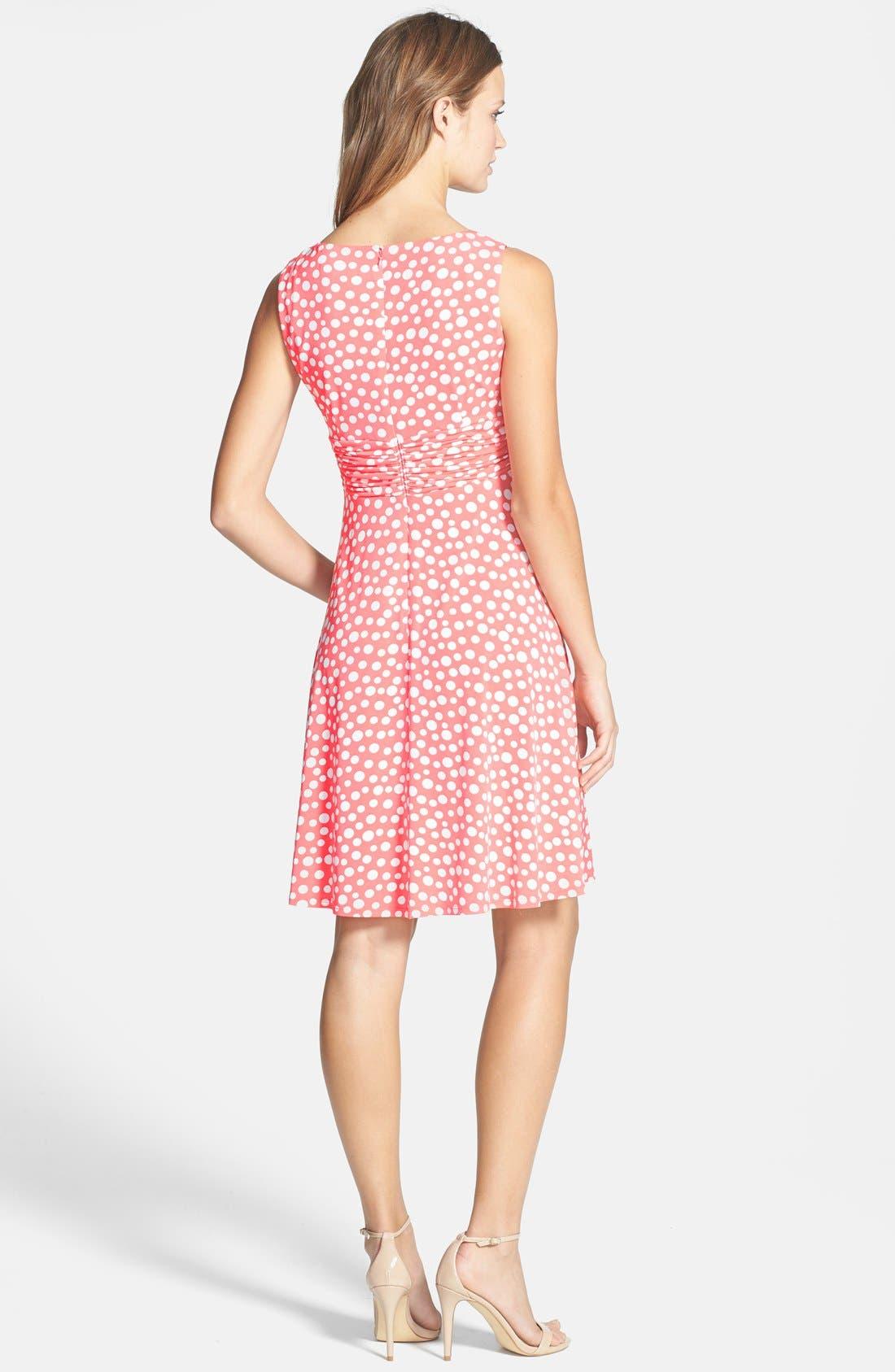 Alternate Image 2  - Eliza J Polka Dot Jersey Fit & Flare Dress (Petite)
