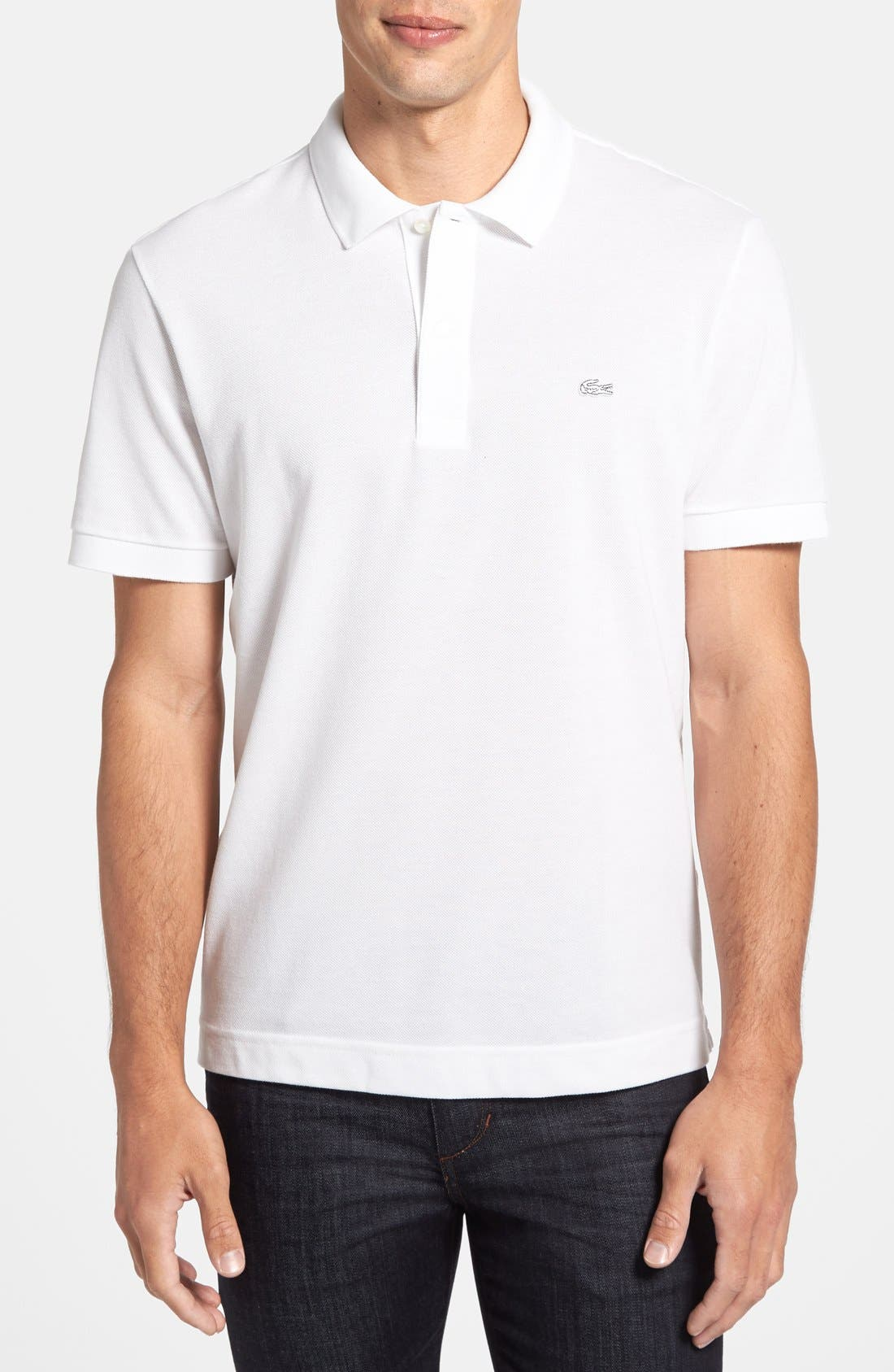 Alternate Image 1 Selected - Lacoste 'White Croc' Regular Fit Piqué Polo