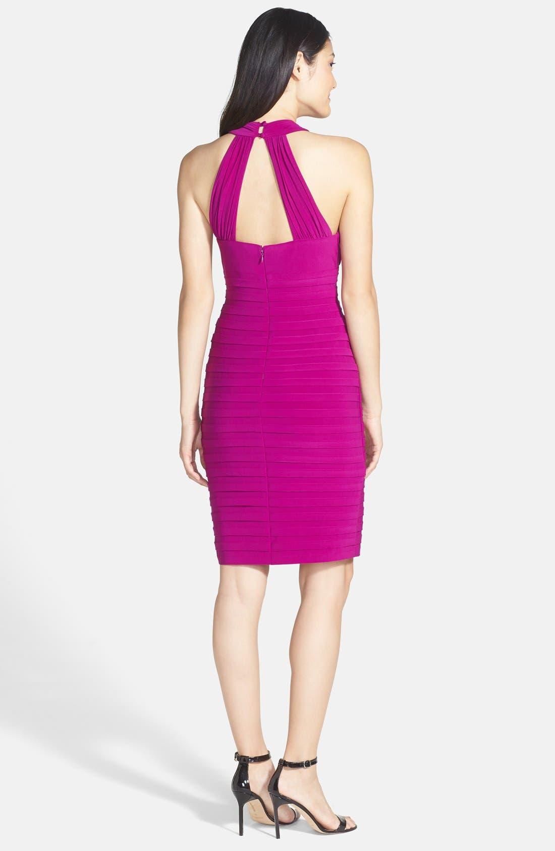 Alternate Image 2  - Xscape Shutter Pleated Jersey Sheath Dress