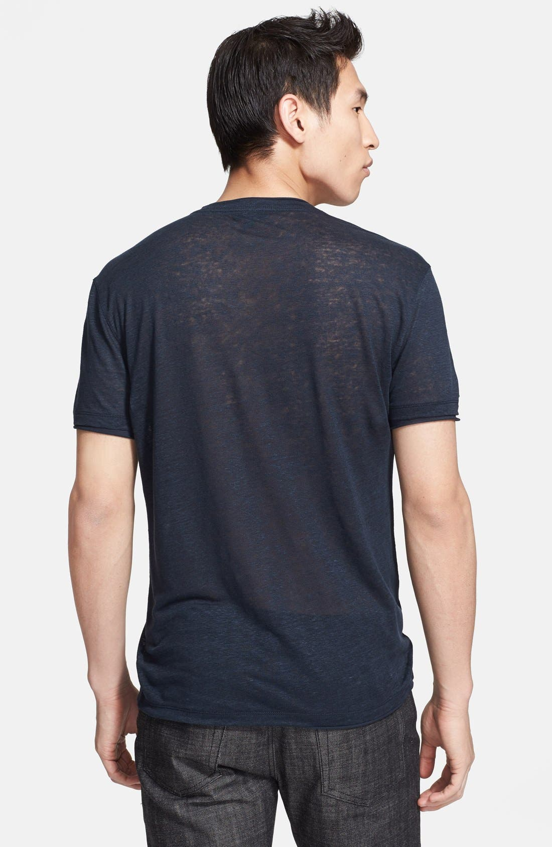 Alternate Image 6  - John Varvatos Collection V-Neck Linen T-Shirt