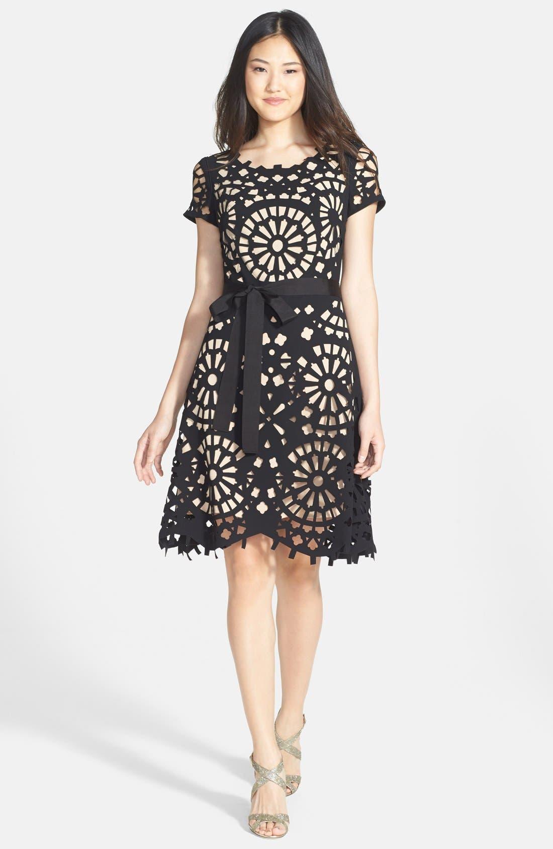 Alternate Image 3  - Nue by Shani Laser Cut Crepe Fit & Flare Dress