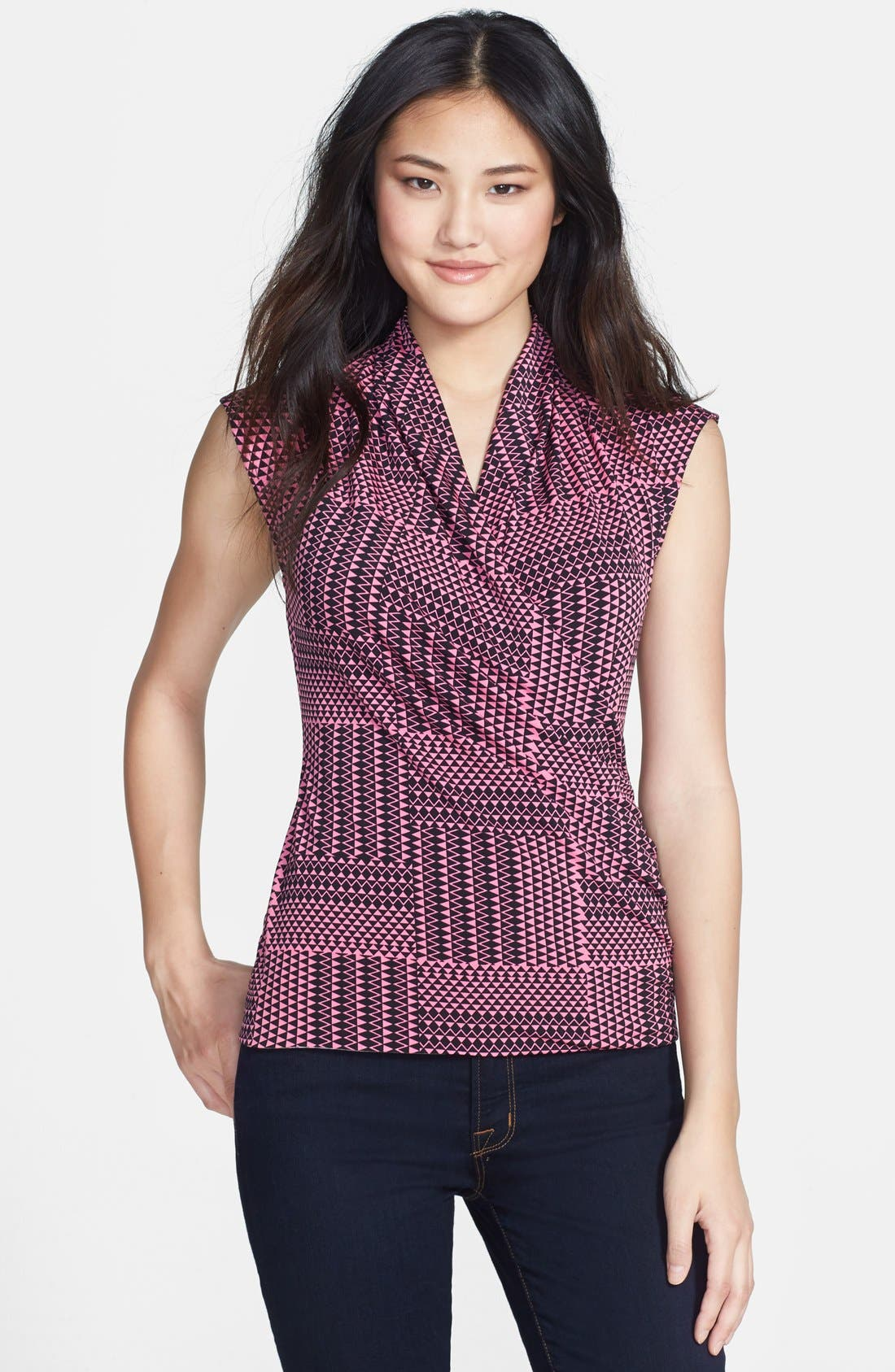 Alternate Image 1 Selected - Chaus 'Triangle Maze' Faux Wrap Top