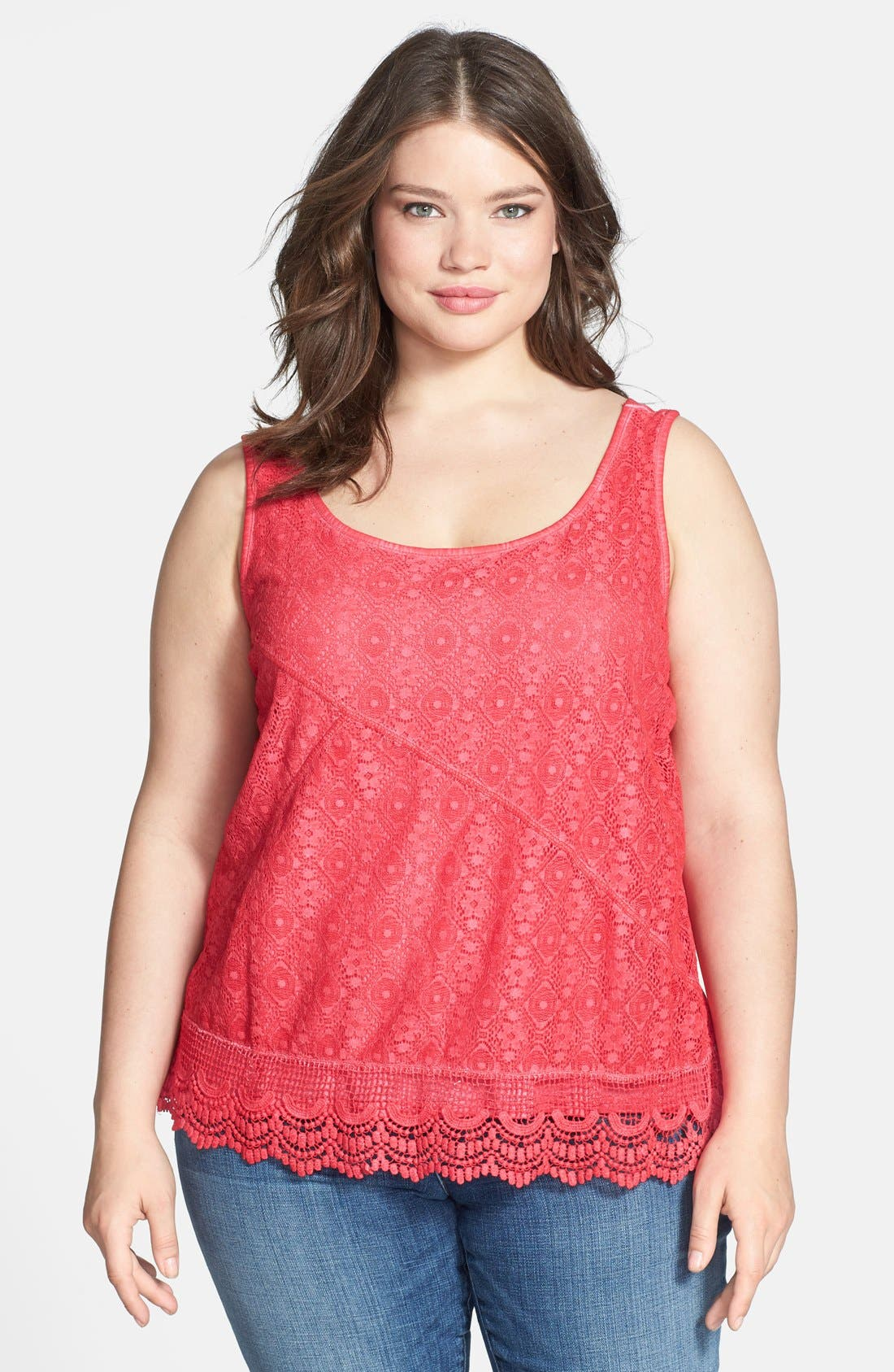 Alternate Image 1 Selected - DKNY Jeans Lace Front Cotton Tank (Plus Size)