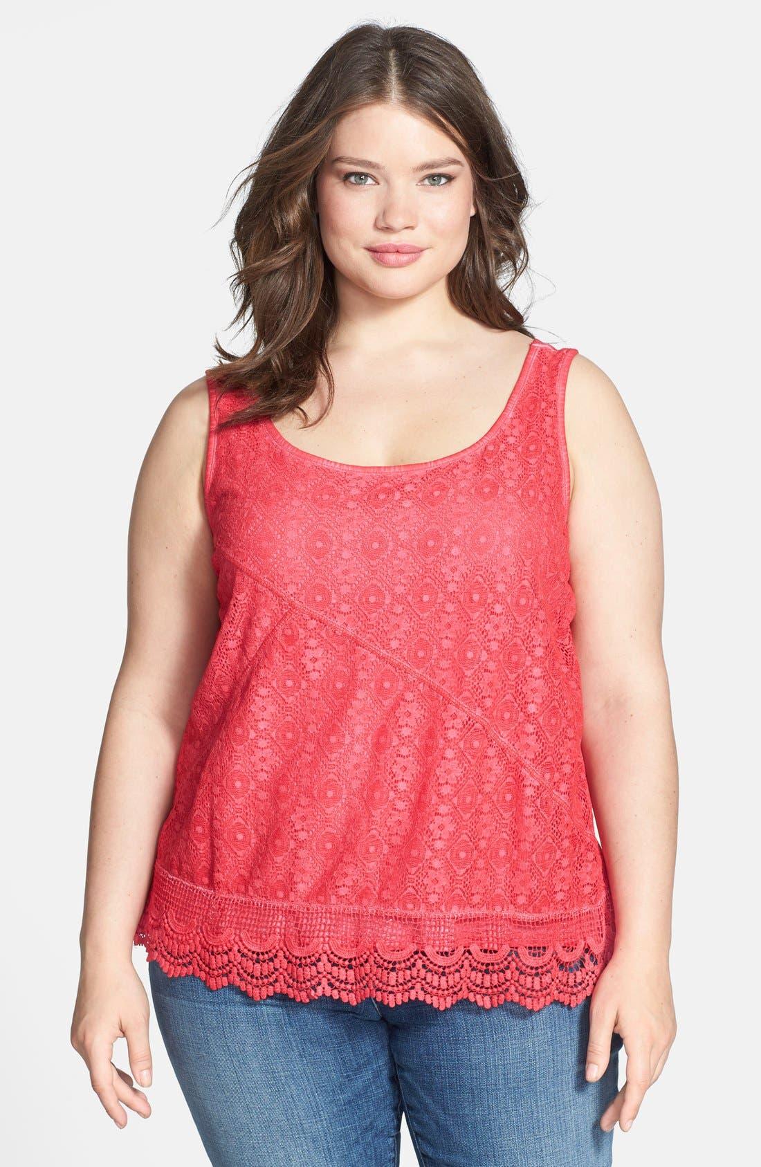 Main Image - DKNY Jeans Lace Front Cotton Tank (Plus Size)