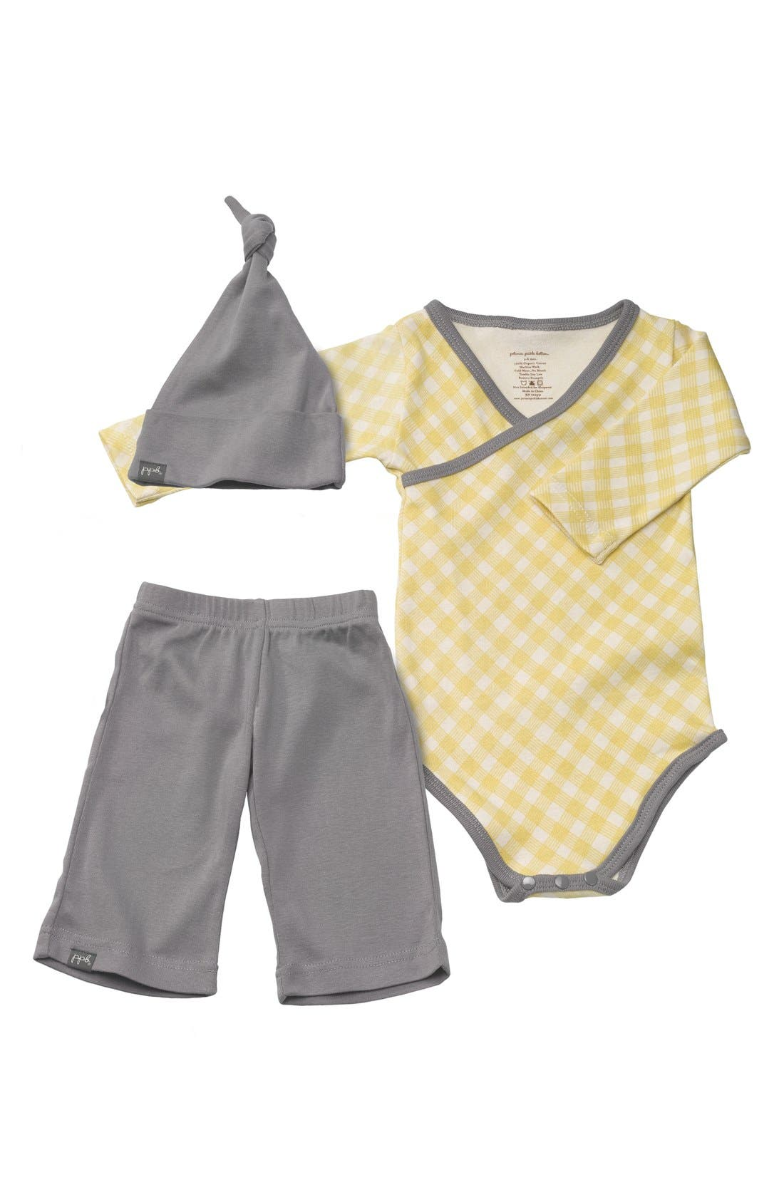 Alternate Image 1 Selected - Petunia Pickle Bottom 'Social' Organic Cotton Bodysuit, Pants & Hat Set (Baby)