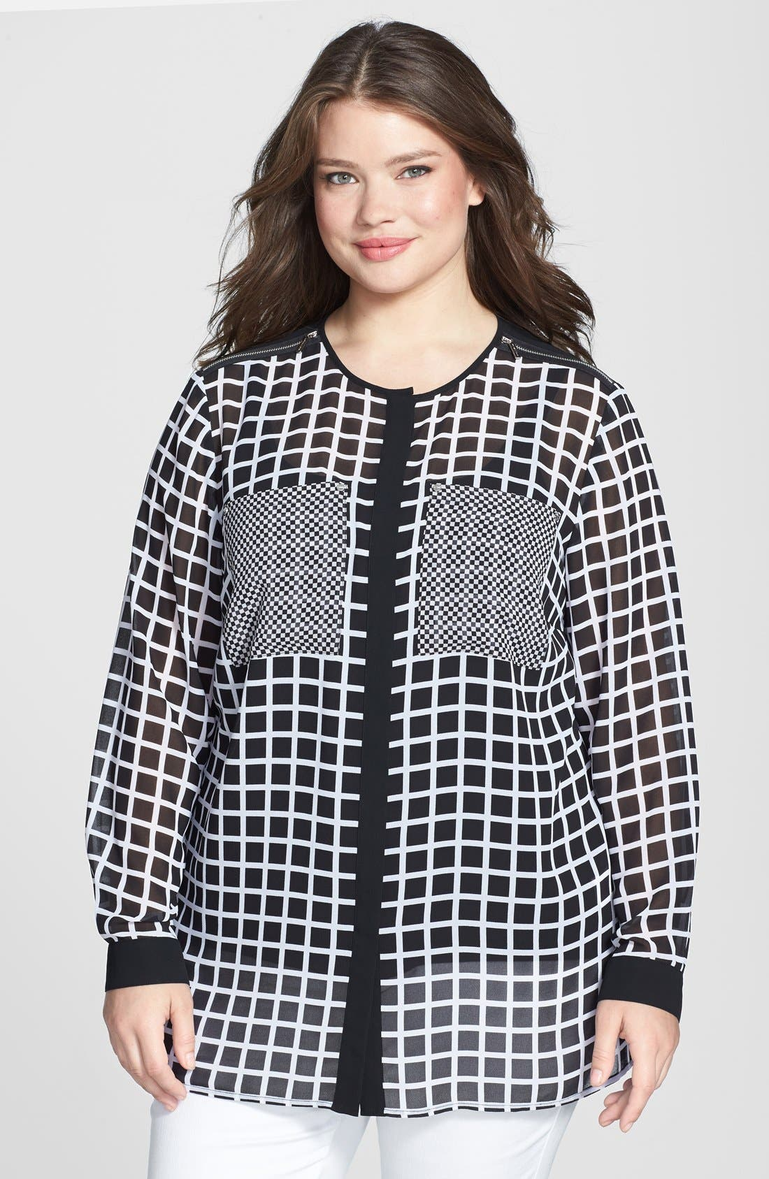 Alternate Image 1 Selected - MICHAEL Michael Kors Zip Shoulder Print Georgette Blouse (Plus Size)