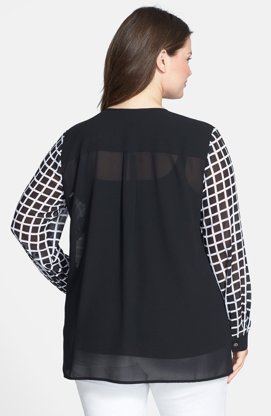Alternate Image 2  - MICHAEL Michael Kors Zip Shoulder Print Georgette Blouse (Plus Size)