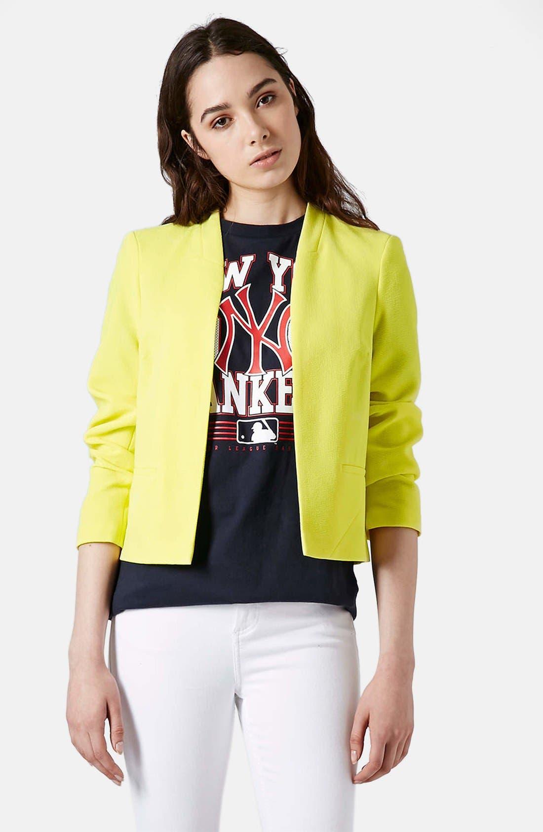 'Kara' Crepe Crop Jacket,                         Main,                         color, Lemon