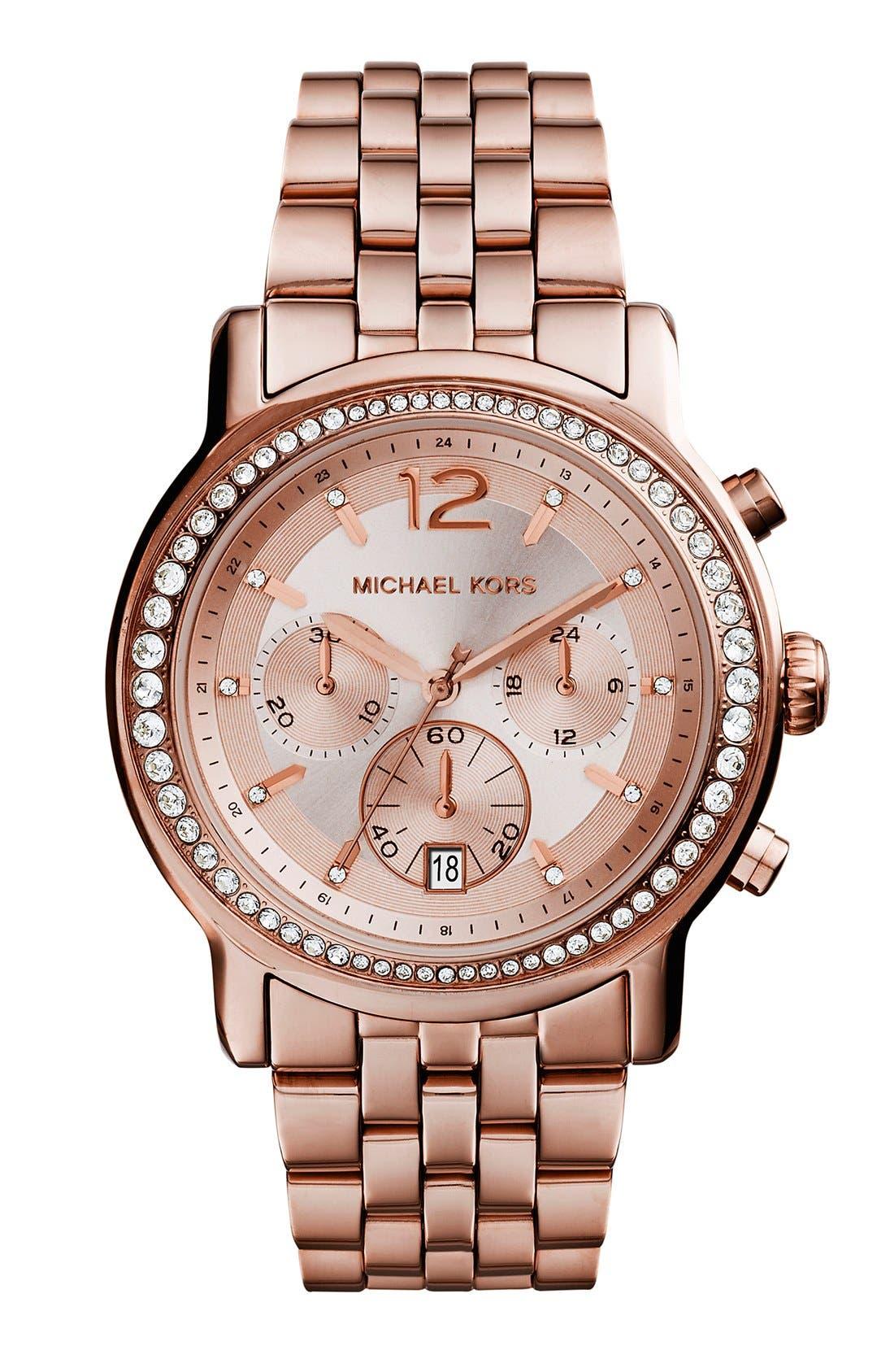 Main Image - Michael Kors 'Baisley' Crystal Bezel Chronograph Bracelet Watch, 41mm (Nordstrom Exclusive)