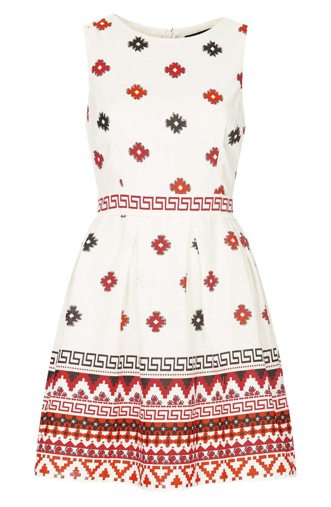 Print Pompom Trim Fit & Flare Dress,                             Alternate thumbnail 3, color,                             White