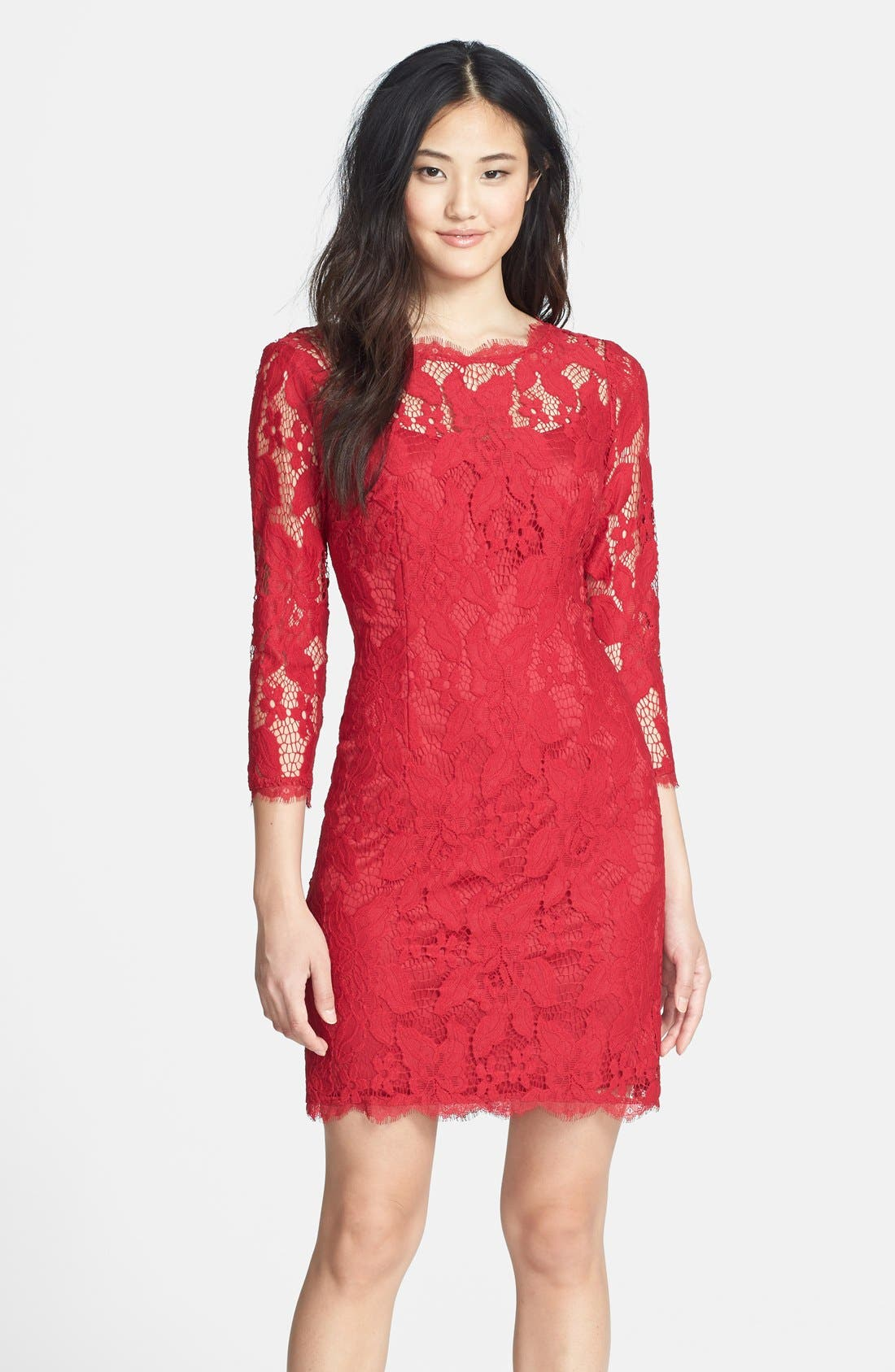 Long Sleeve Lace Cocktail Dress,                         Main,                         color, Ruby