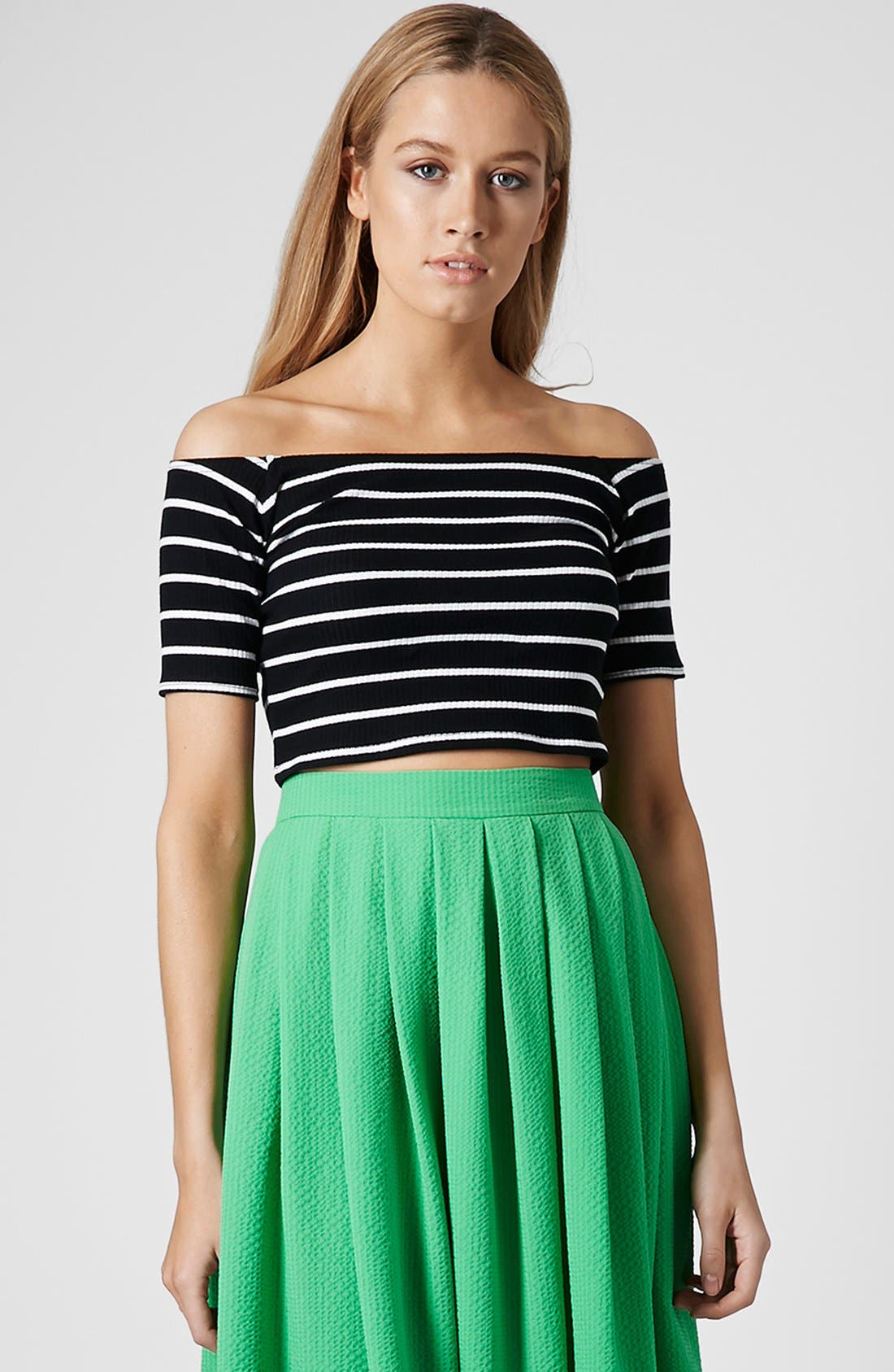 Main Image - Topshop Stripe Rib Knit Bardot Crop Top