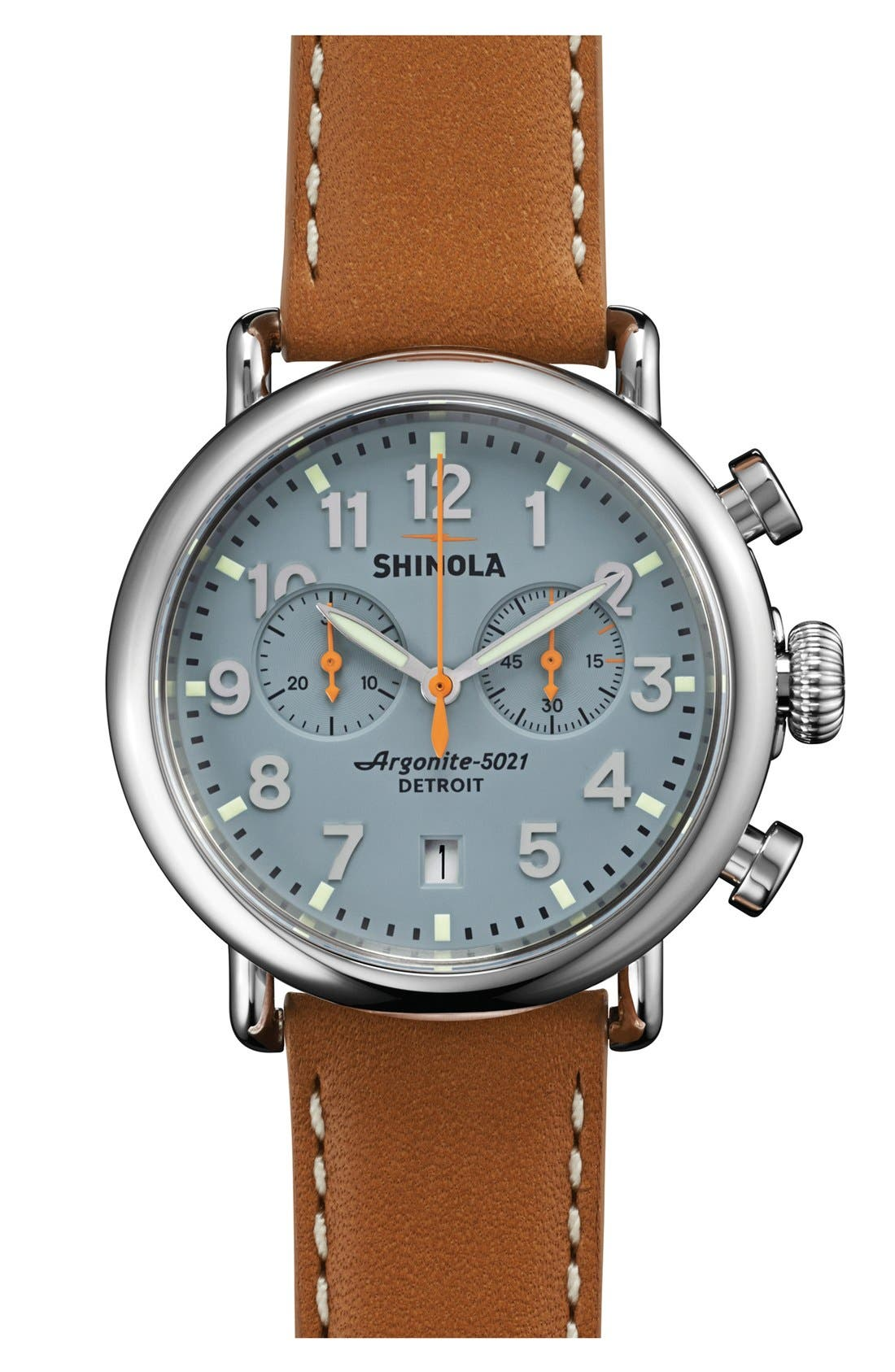 'The Runwell Chrono' Leather Strap Watch, 41mm,                         Main,                         color, Tan/ Slate