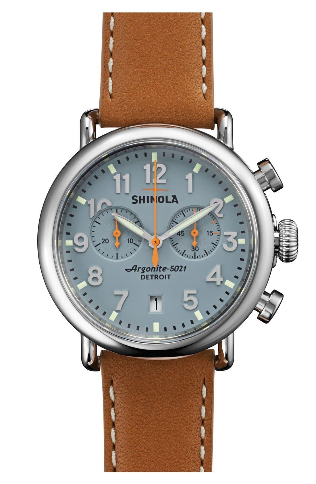 Shinola 'The Runwell Chrono' Leather Strap Watch, 41mm