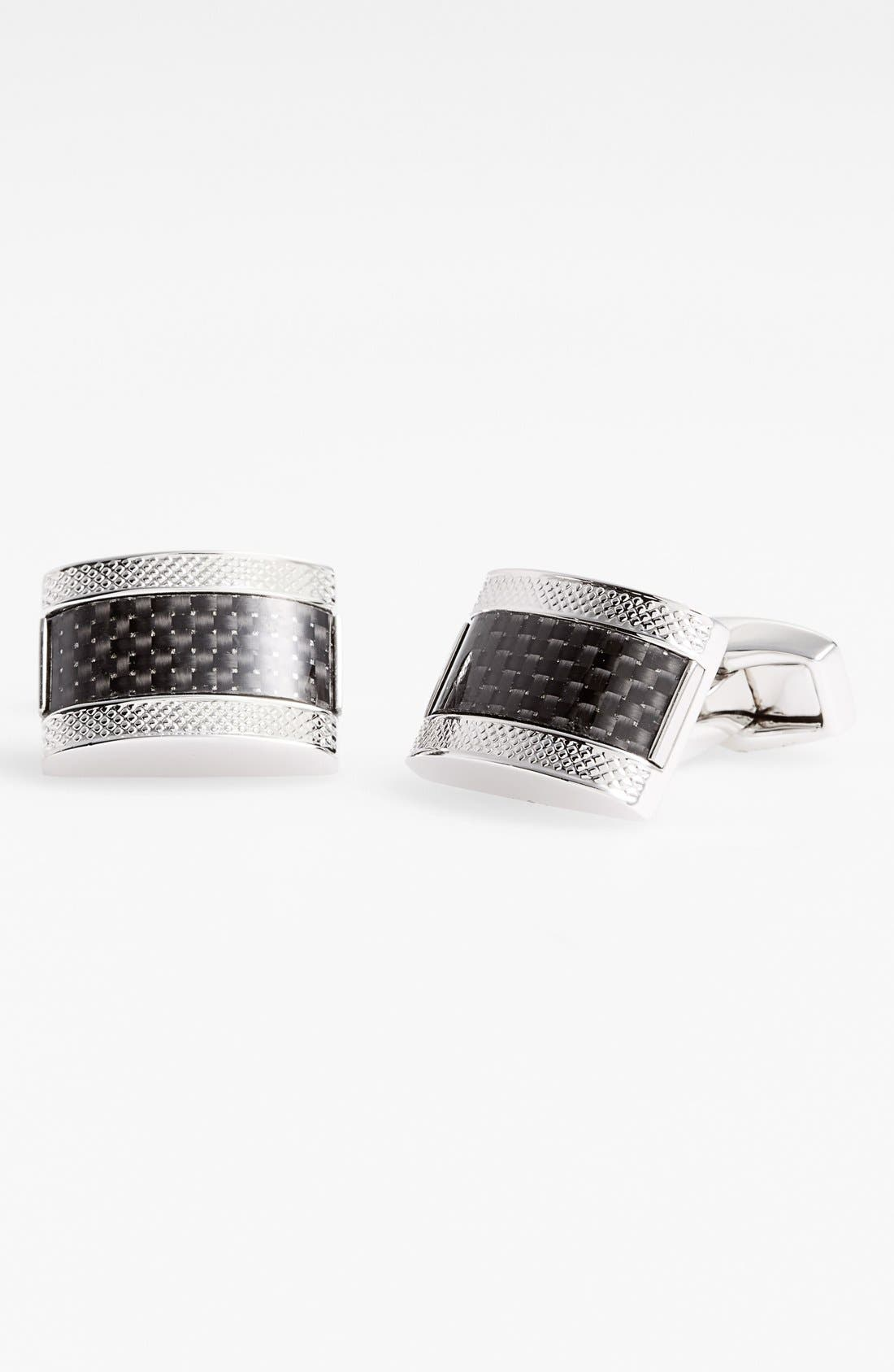 Carbon Fiber Cuff Links,                         Main,                         color, Rhodium/ Black
