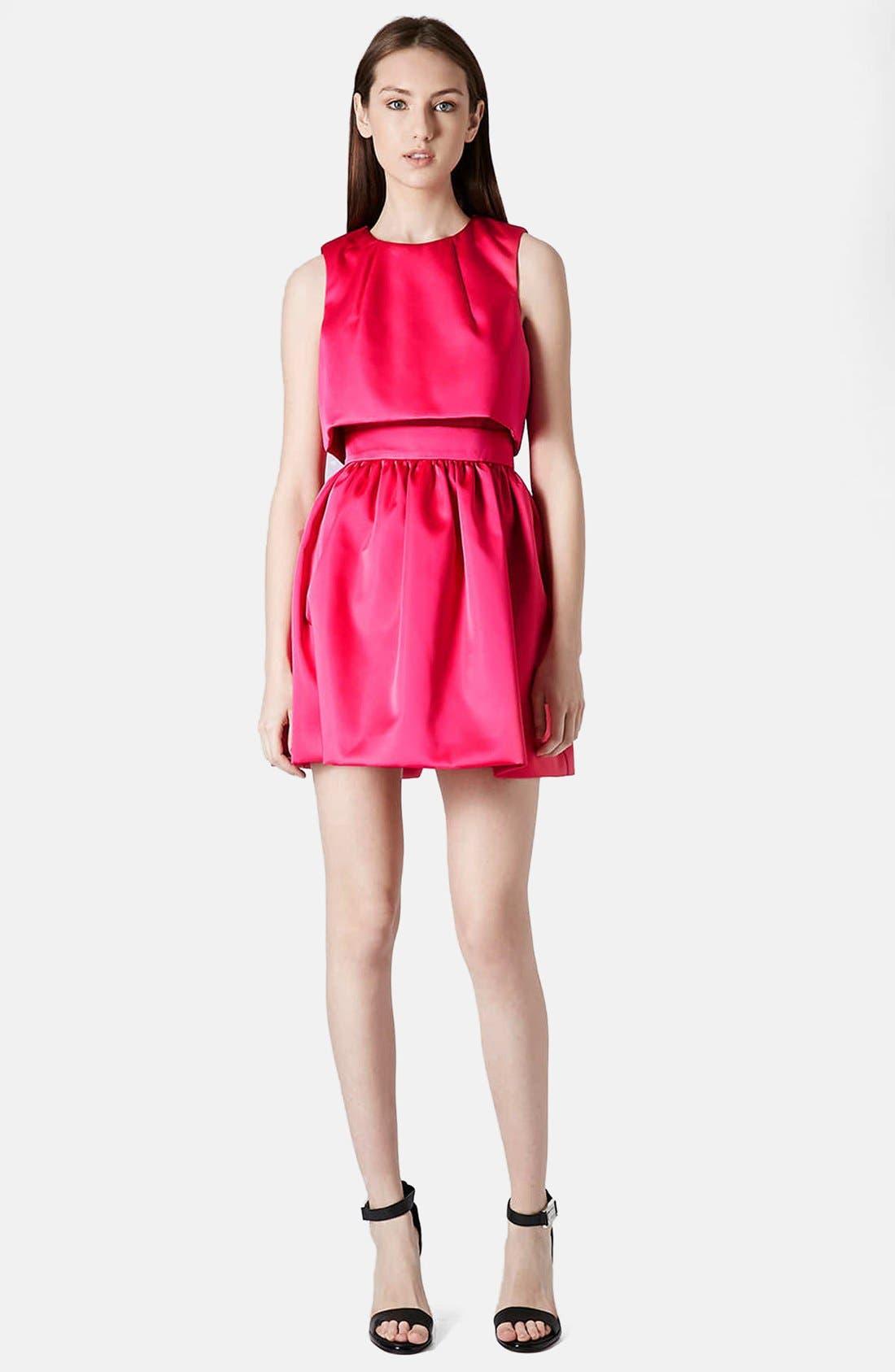 'Duchess' Crop Overlay Satin Skater Dress,                             Alternate thumbnail 5, color,                             Pink
