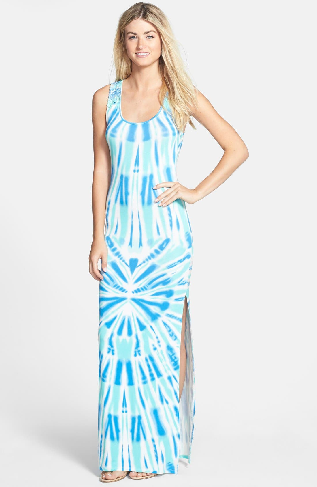 Alternate Image 1 Selected - Felicity & Coco Crochet Back Tie Dye Maxi Dress (Regular & Petite) (Nordstrom Exclusive)