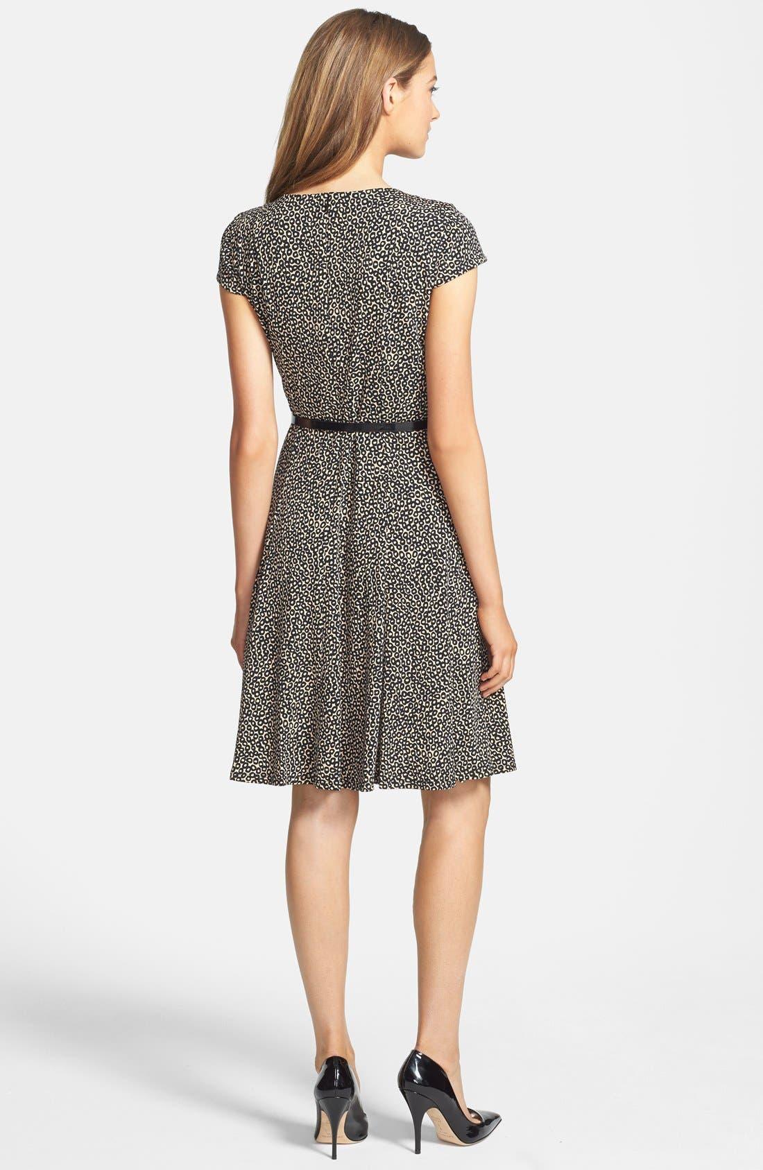 Alternate Image 2  - Eliza J Print Belted Fit & Flare Dress (Petite)