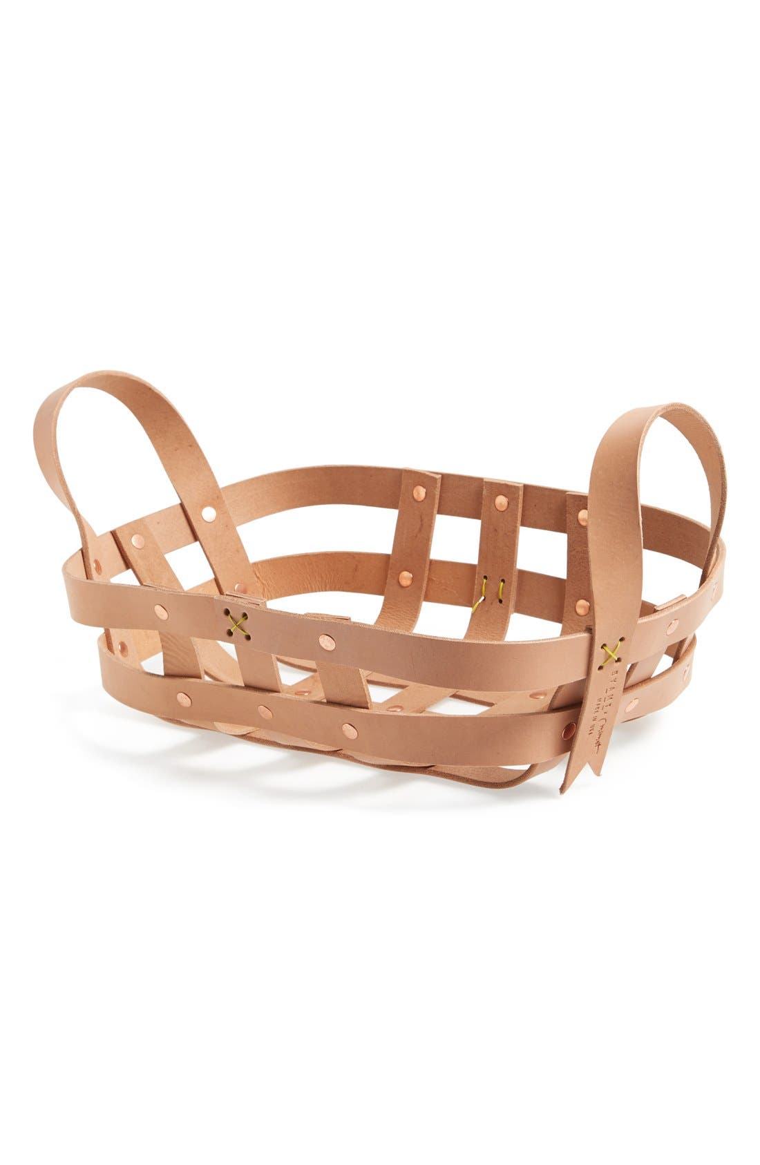 Alternate Image 1 Selected - byAMT Small Leather Strap Basket