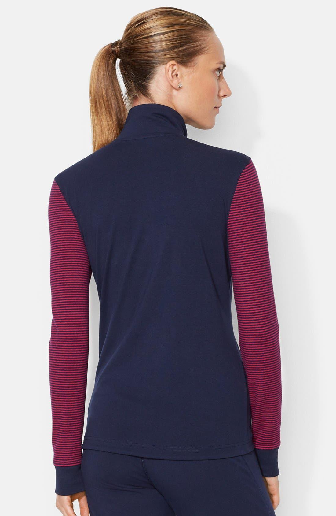 Alternate Image 2  - Lauren Ralph Lauren Mock Neck Front Zip Jacket (Petite)