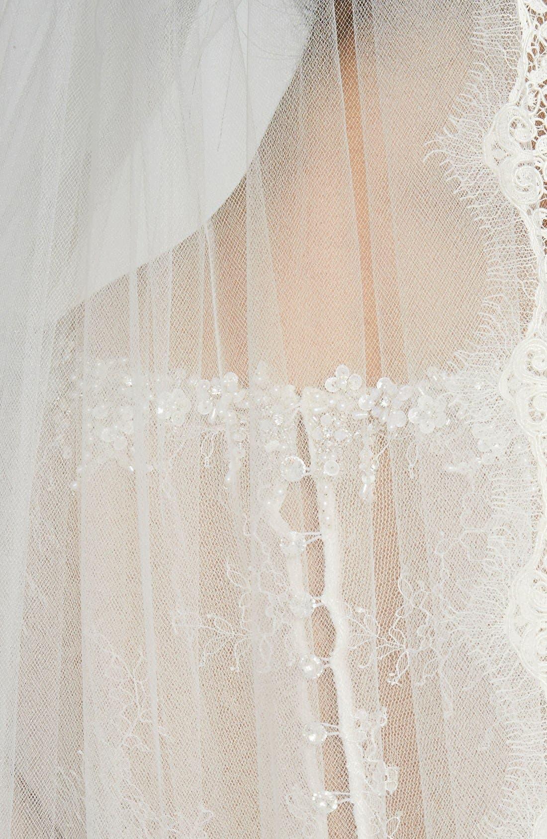 Alternate Image 2  - Veil Trends Alençon Lace Cathedral Veil (Nordstrom Exclusive)