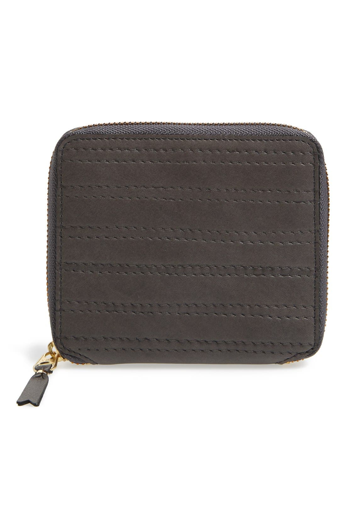 'Embossed Stitch' French Wallet,                         Main,                         color, Grey