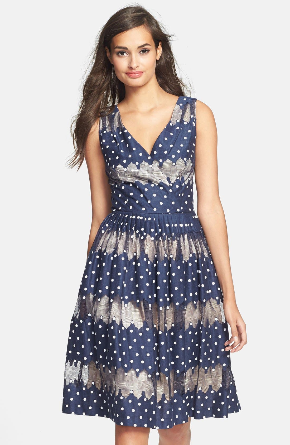 Alternate Image 1 Selected - Maggy London Burnout Dot Fit & Flare Dress
