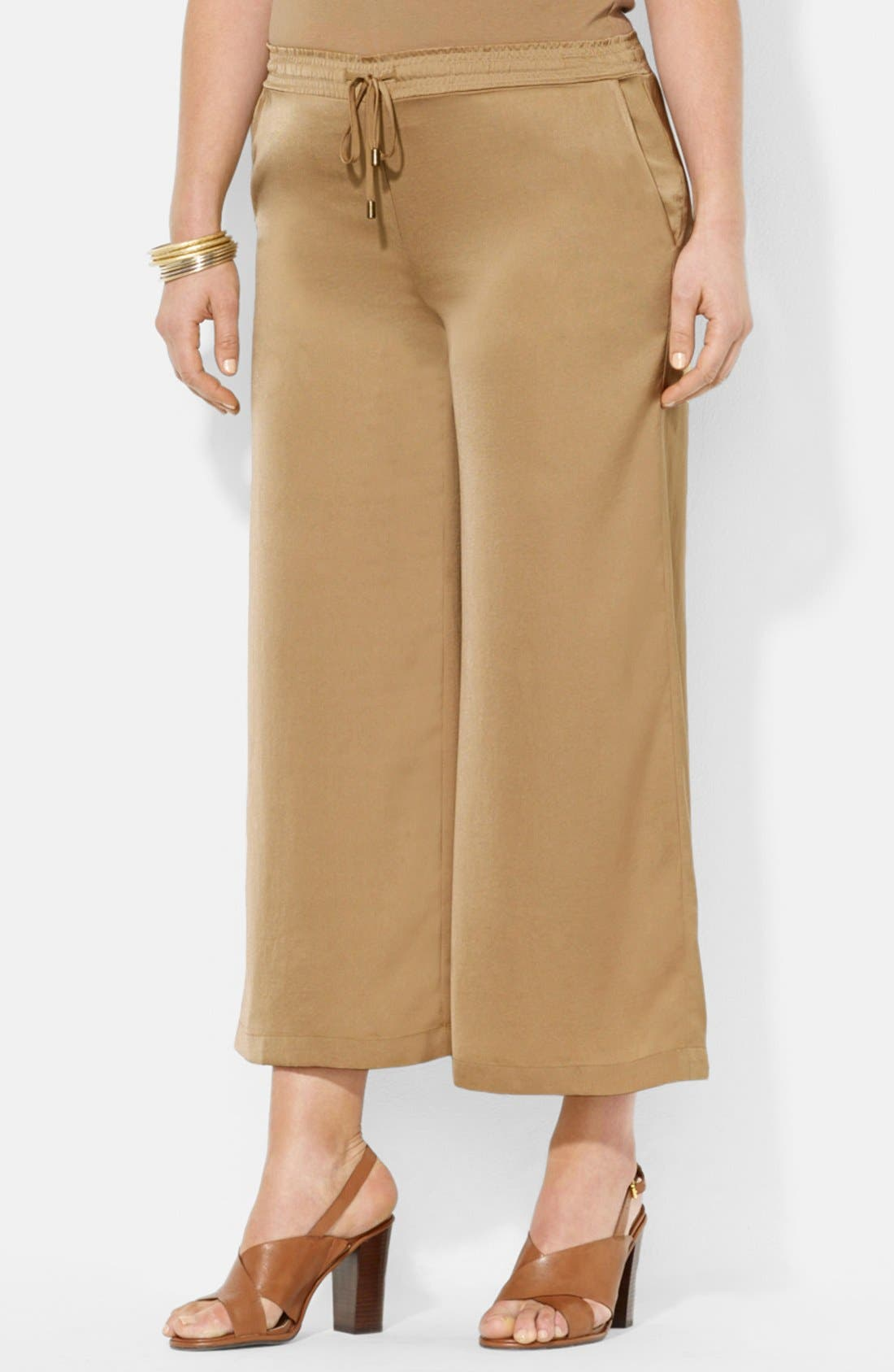Alternate Image 1 Selected - Lauren Ralph Lauren Wide Leg Crop Pants (Plus Size)