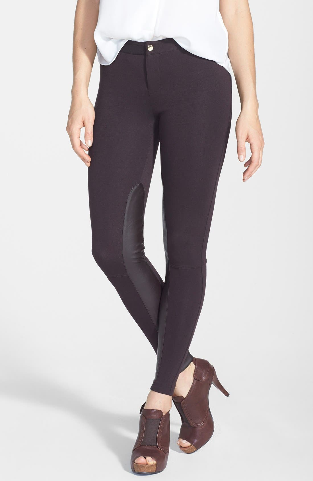 Alternate Image 1 Selected - MICHAEL Michael Kors Faux Leather Panel Seamed Pants (Regular & Petite)