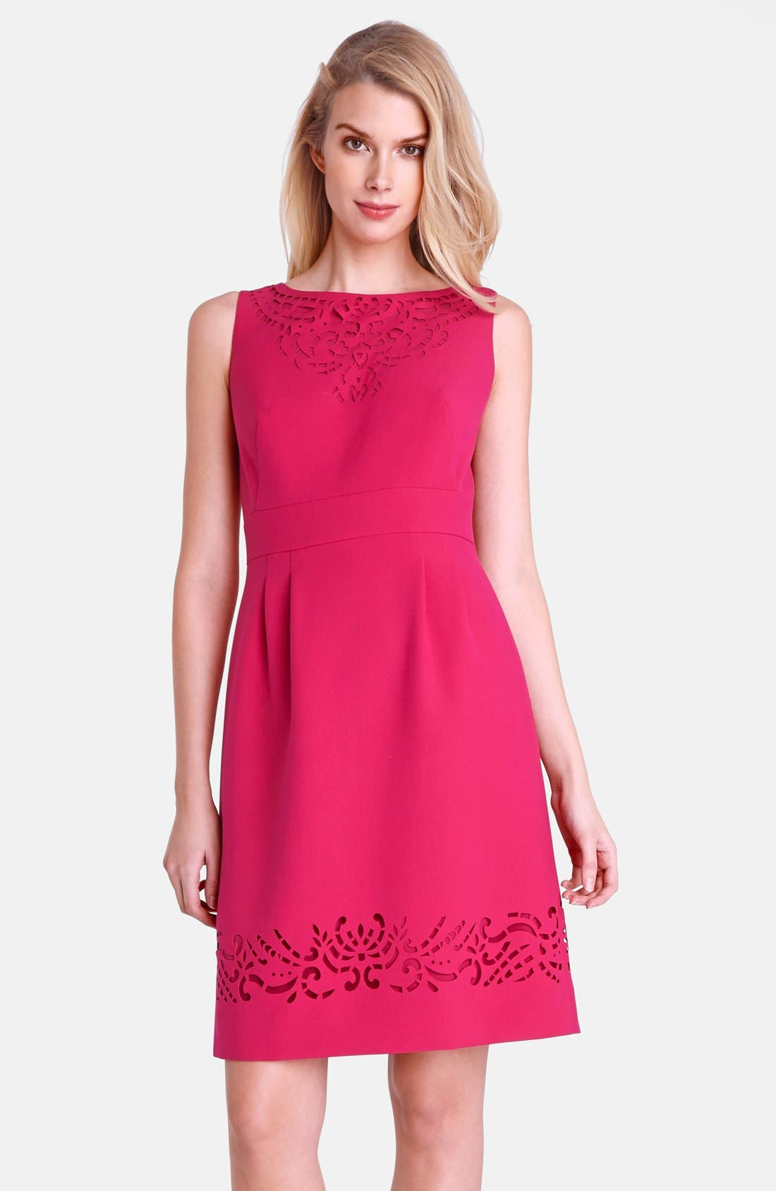 Main Image - Tahari Bateau Neck Laser Cut Ponte Sheath Dress