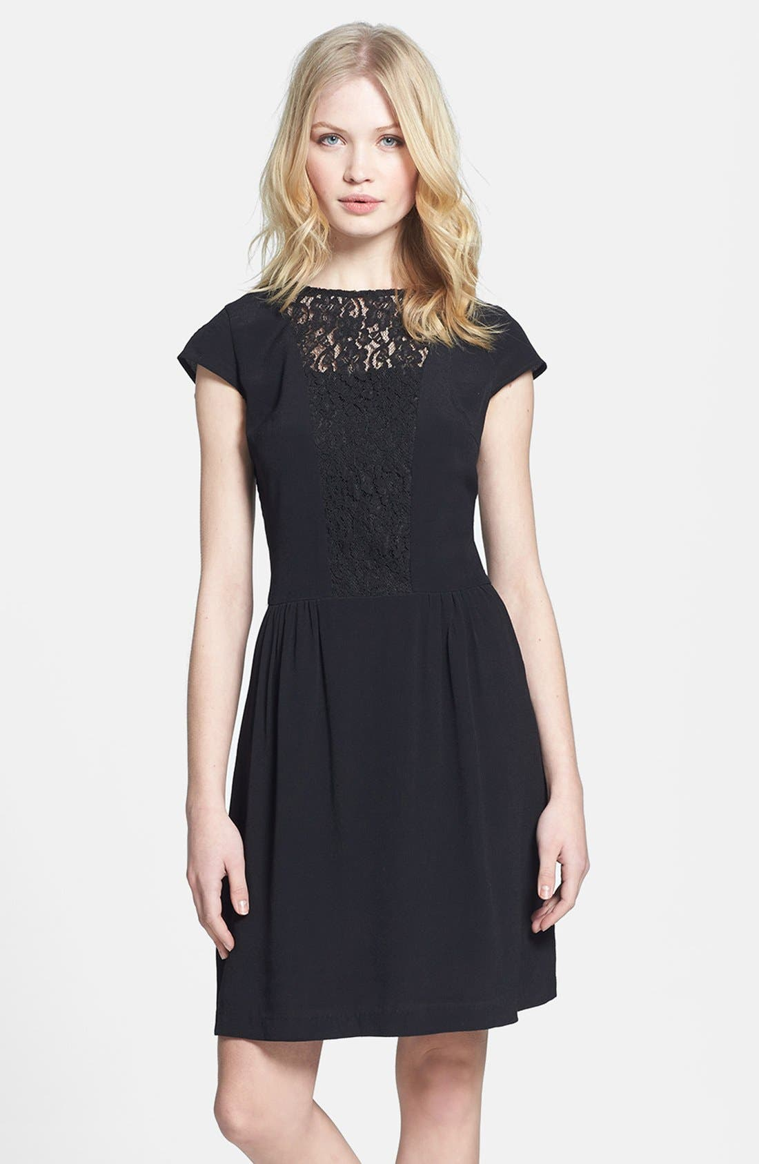 Alternate Image 1 Selected - MM Couture Lace Inset Fit & Flare Dress