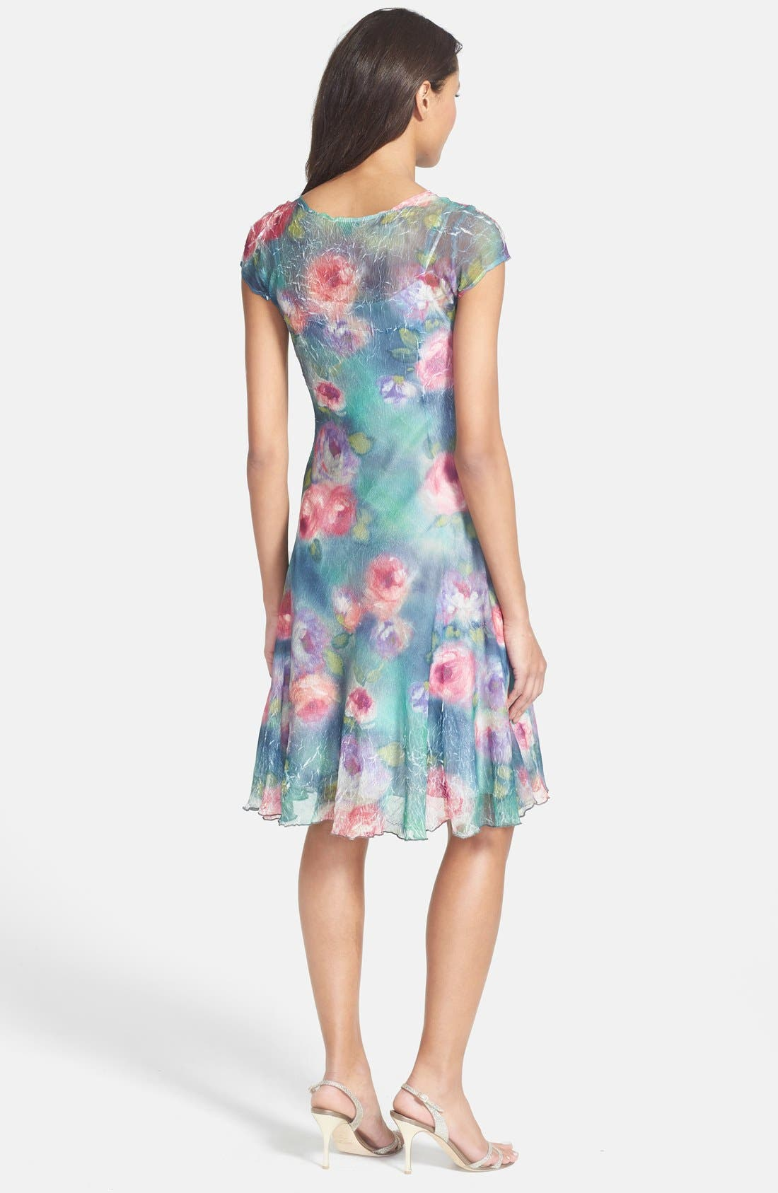 Alternate Image 2  - Komarov Cap Sleeve Floral Print Chiffon Dress (Petite)