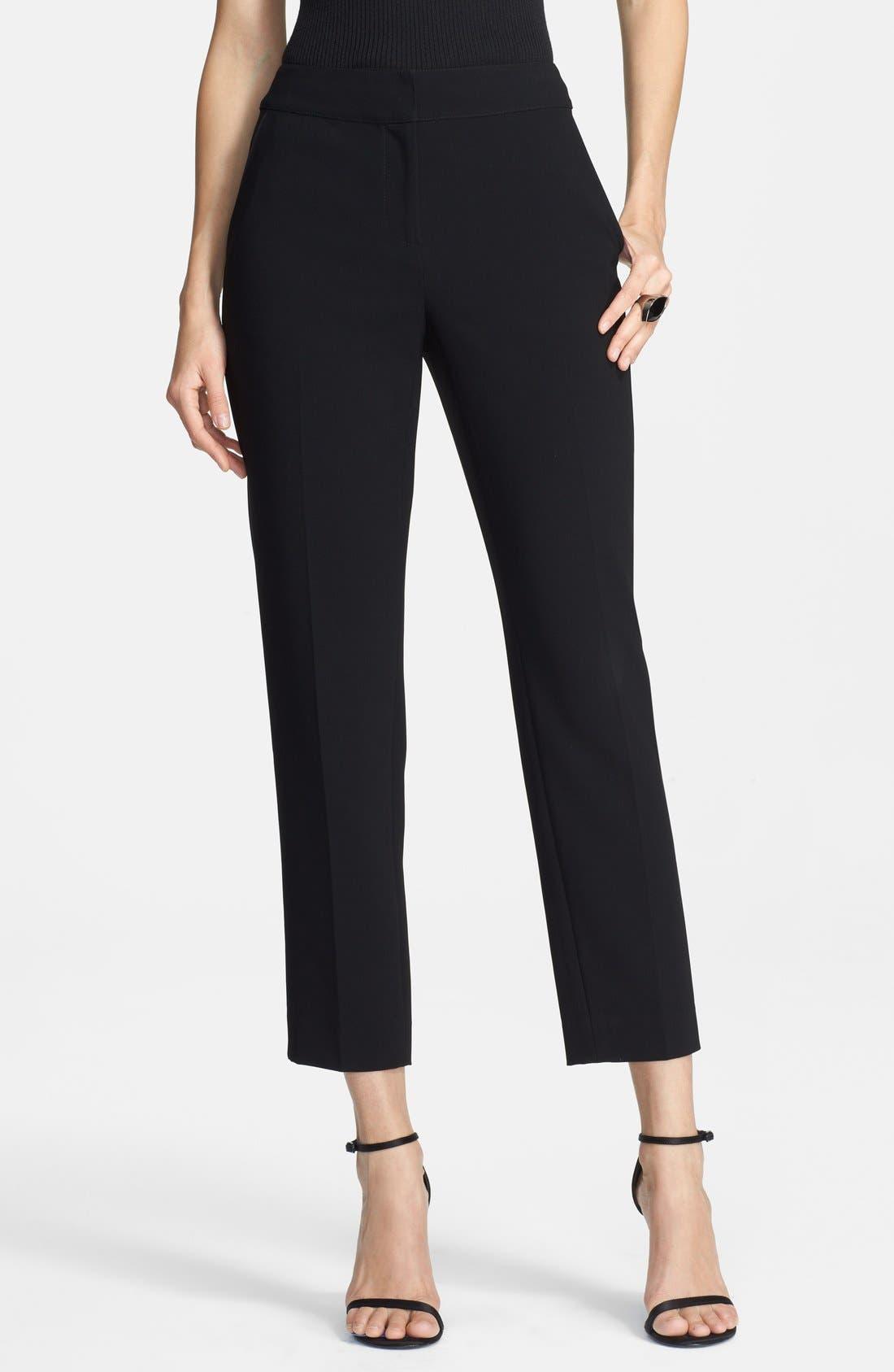 Crepe Crop Pants,                         Main,                         color, Caviar