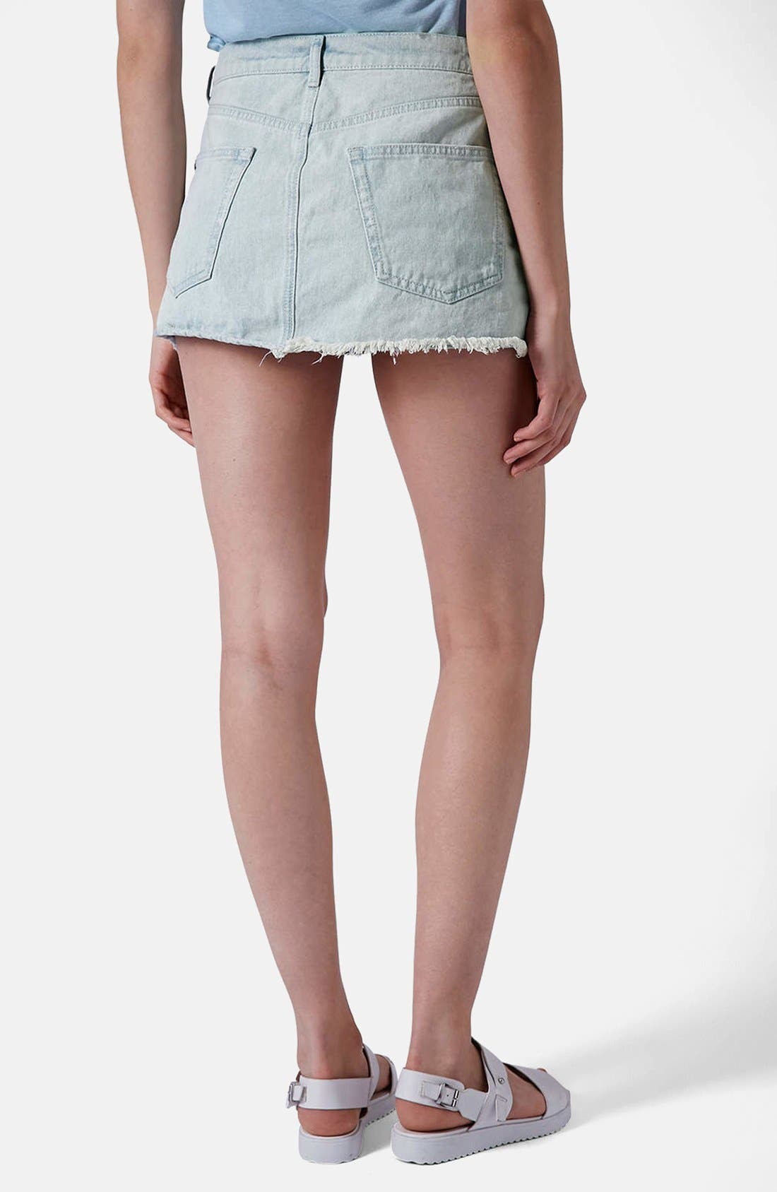 Alternate Image 2  - Topshop Moto Bleach Wash Cutoff Skirt (Light Denim)